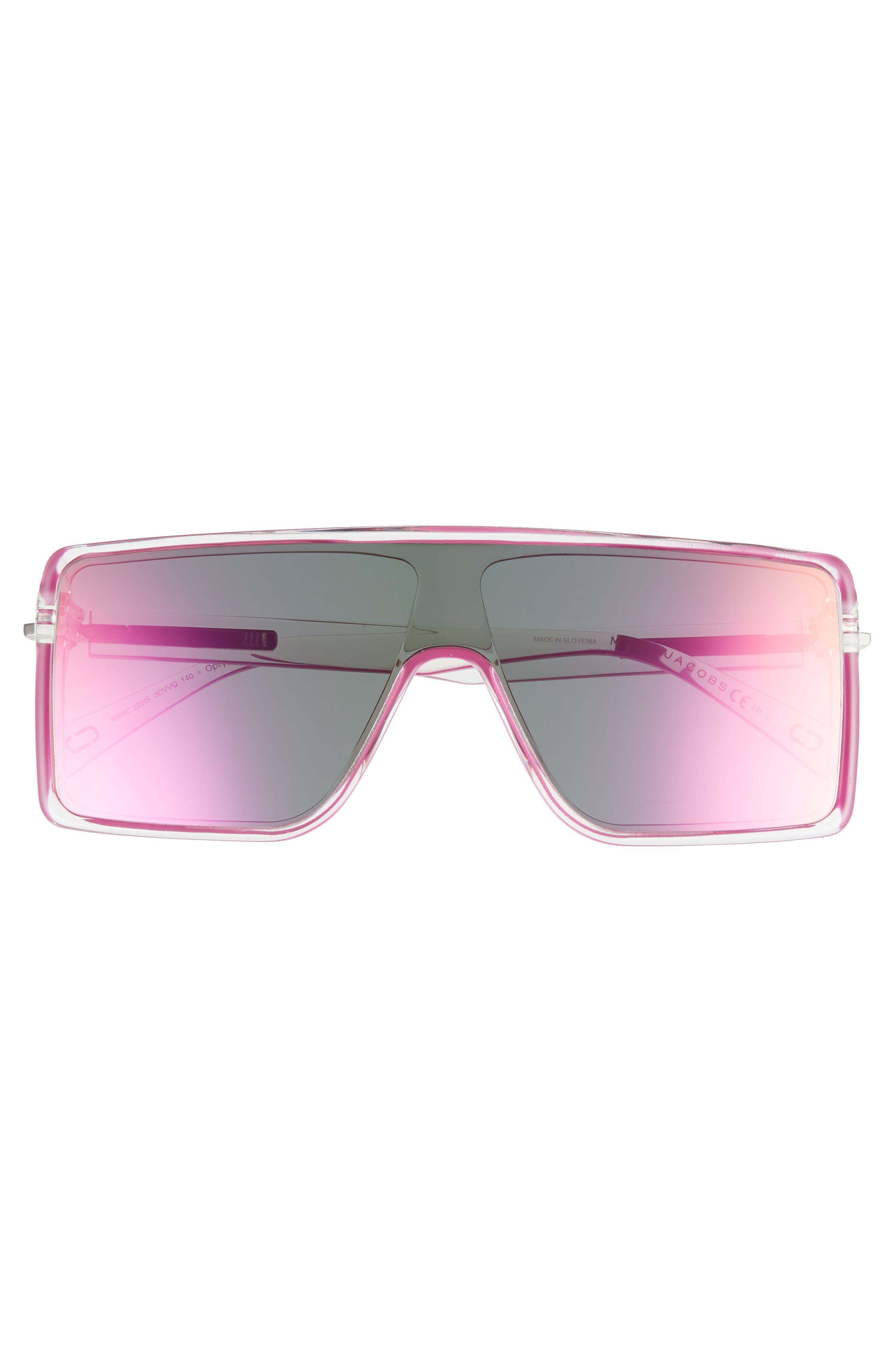 54mm Shield Sunglasses,                             Alternate thumbnail 3, color,                             Crystal Pink