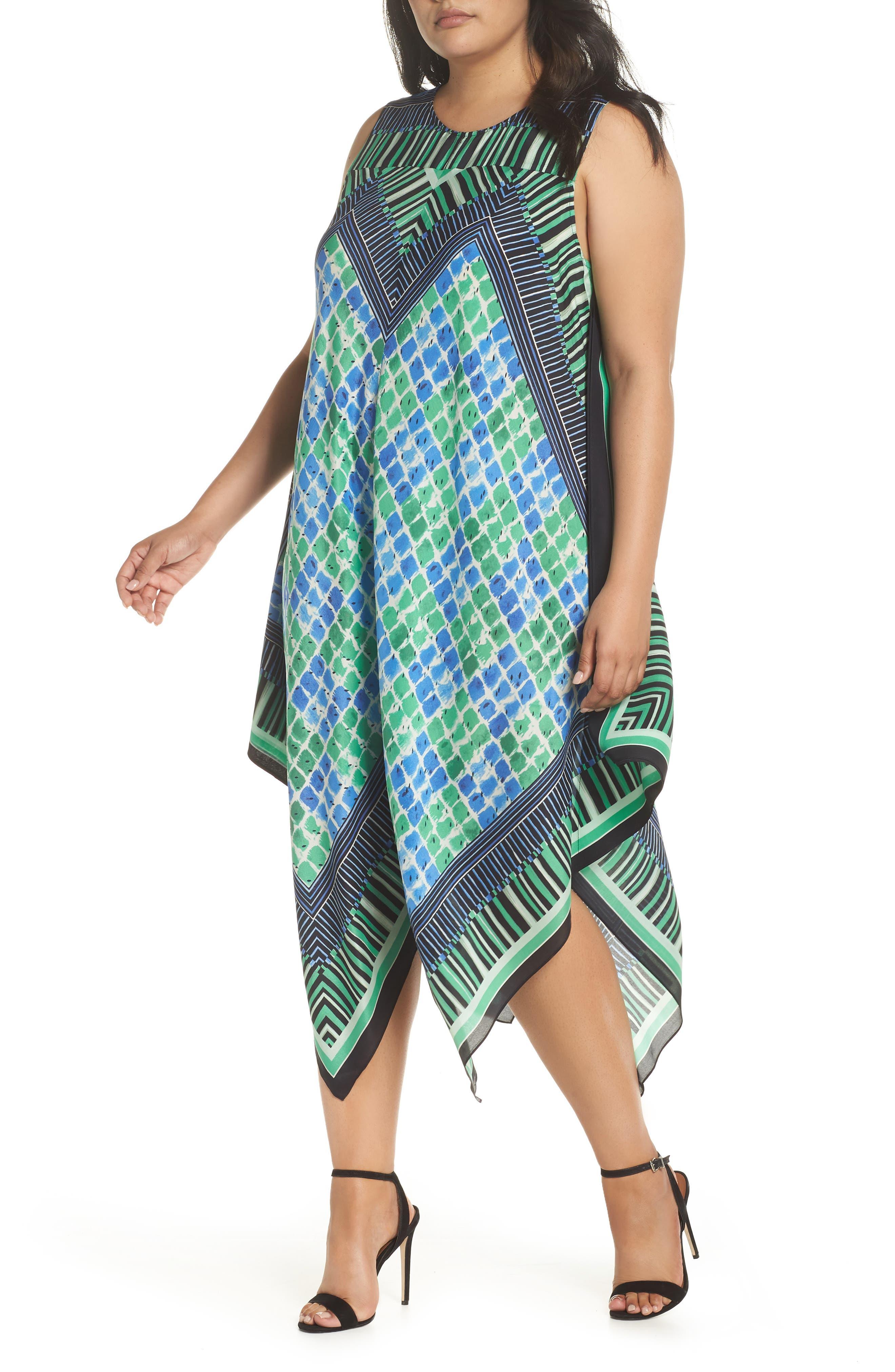 DJ Vu Handkerchief Hem Silk Blend Dress,                         Main,                         color, Multi
