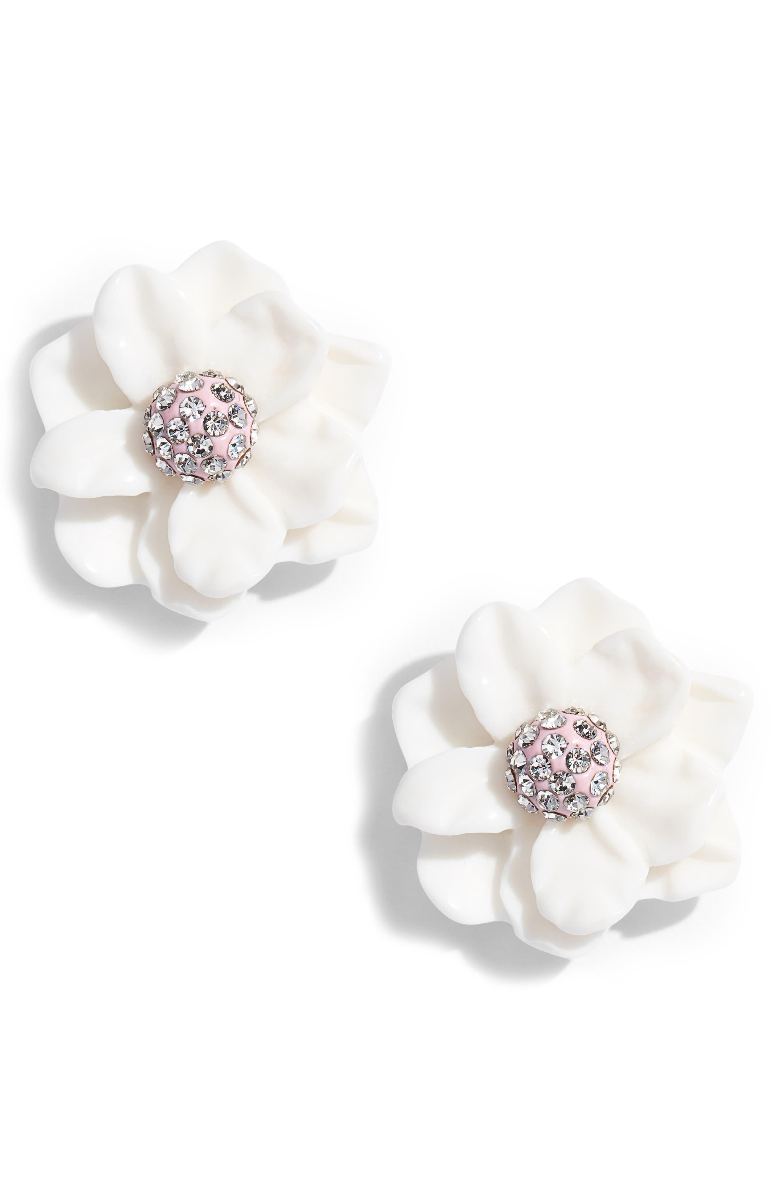 Gardenia Stud Earrings,                             Main thumbnail 1, color,                             Ivory