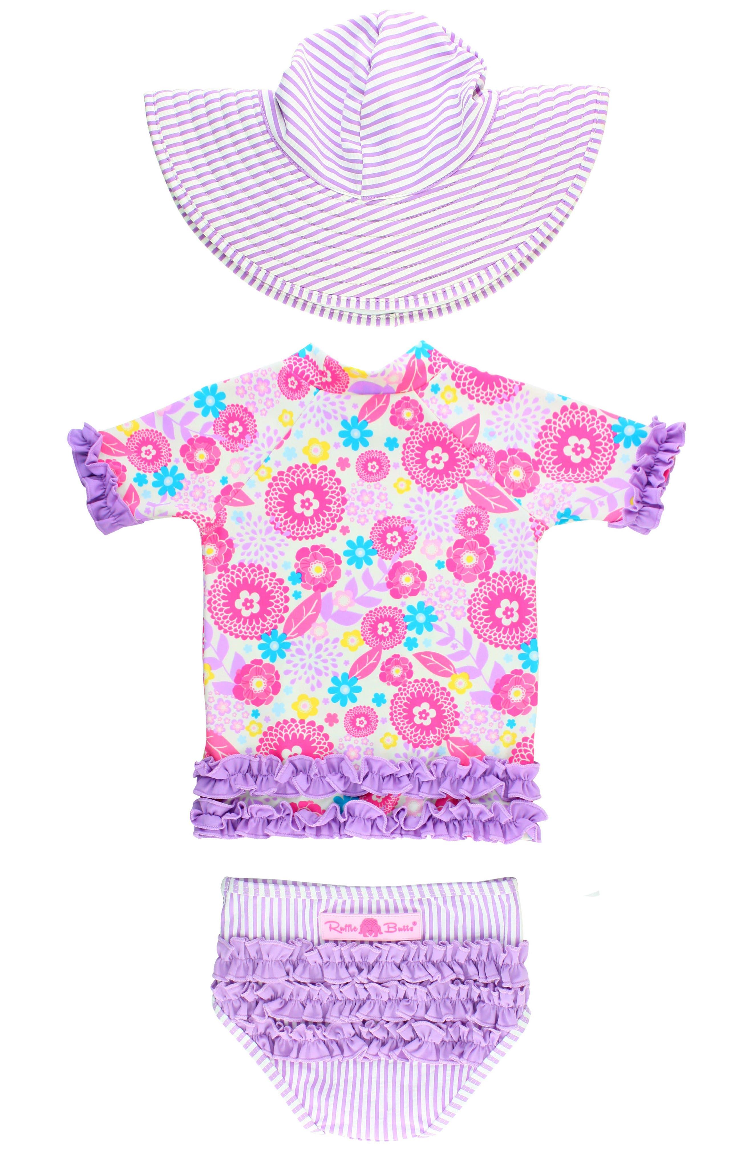 Blooming Buttercup Two-Piece Rashguard Swimsuit & Hat Set,                             Alternate thumbnail 2, color,                             Purple