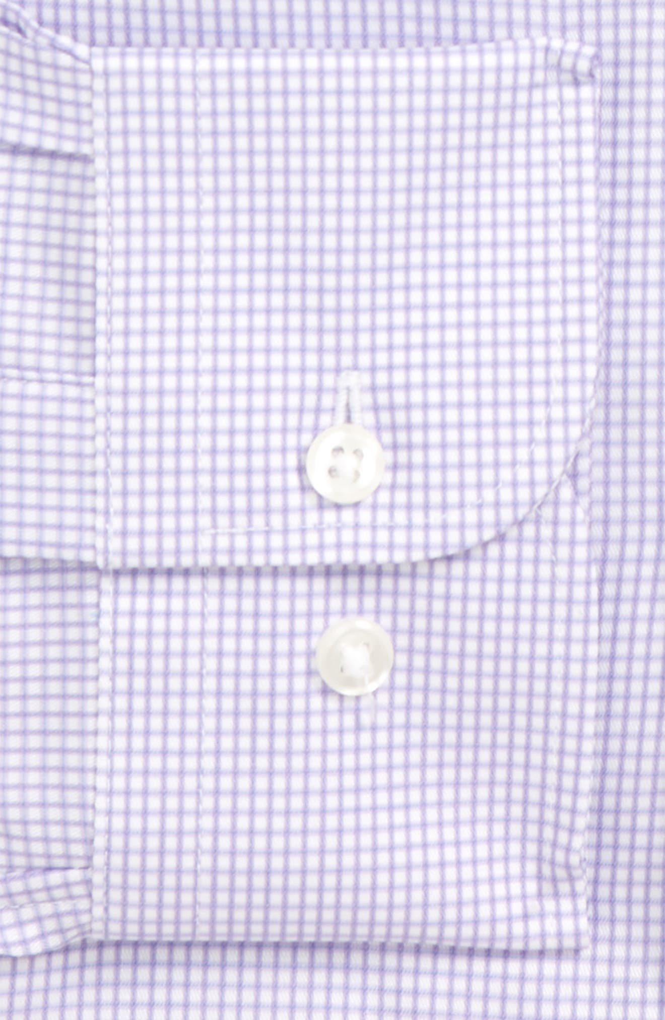 Traditional Fit Check Dress Shirt,                             Alternate thumbnail 5, color,                             Purple Chalk