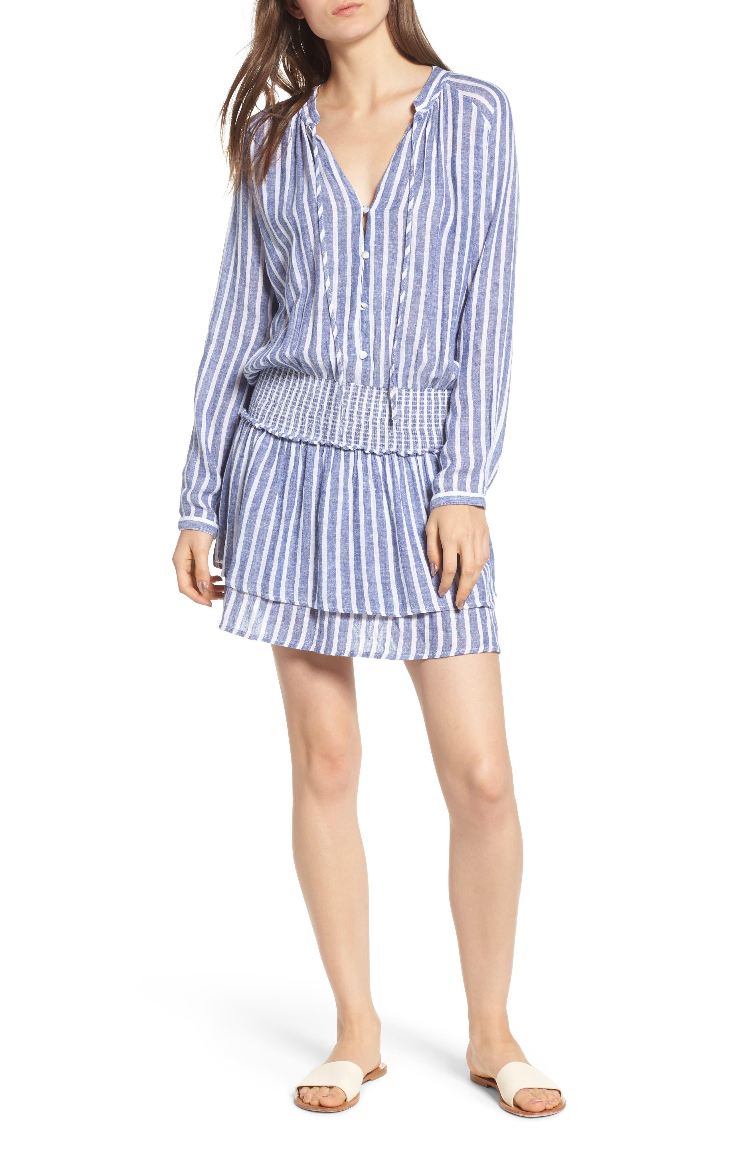 Jasmine Long-Sleeve Tie-Neck Smocked-Waist Striped Linen-Blend Mini Dress in Parisian Blue