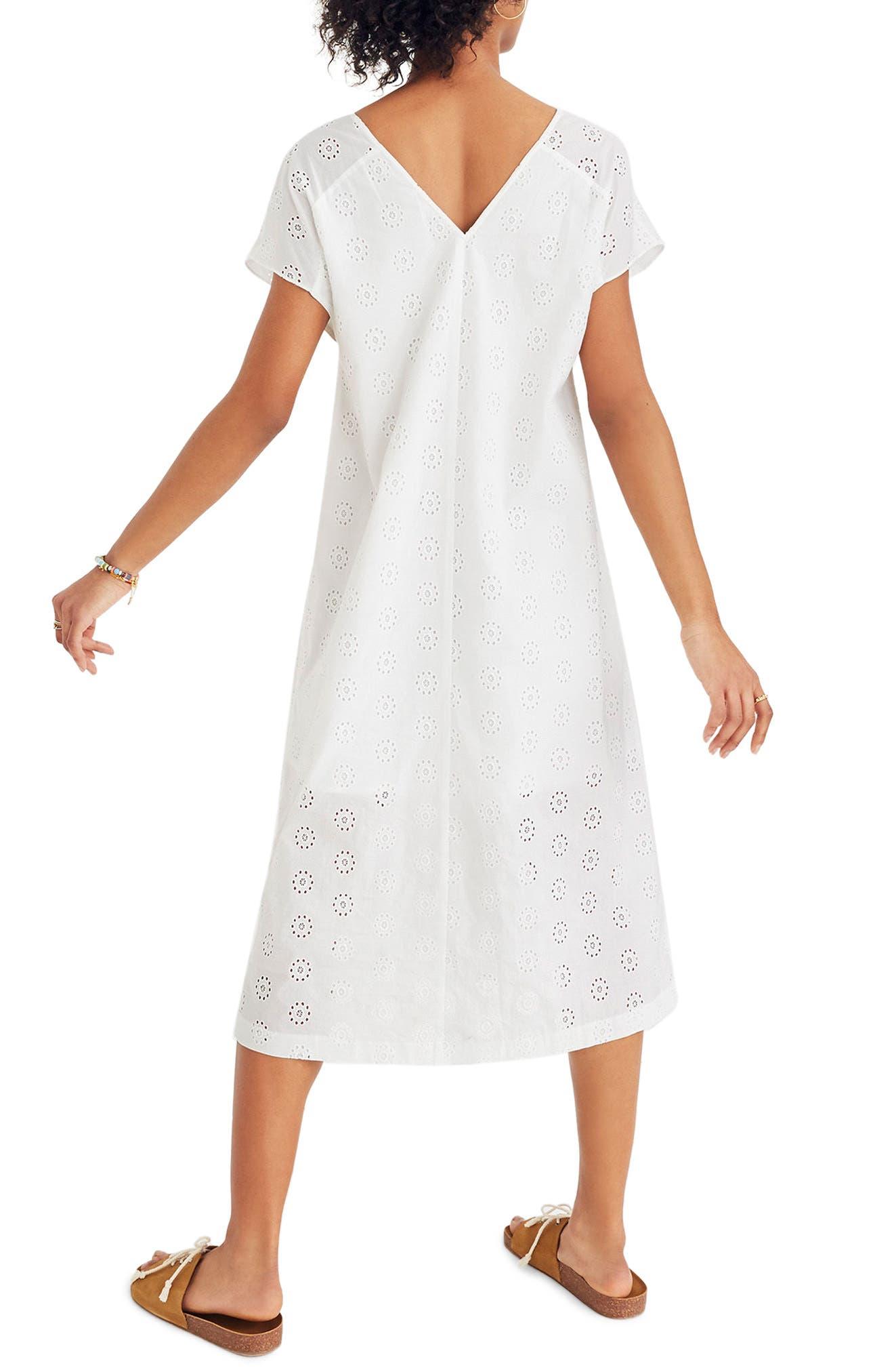 Eyelet Midi Dress,                             Alternate thumbnail 2, color,                             Eyelet White