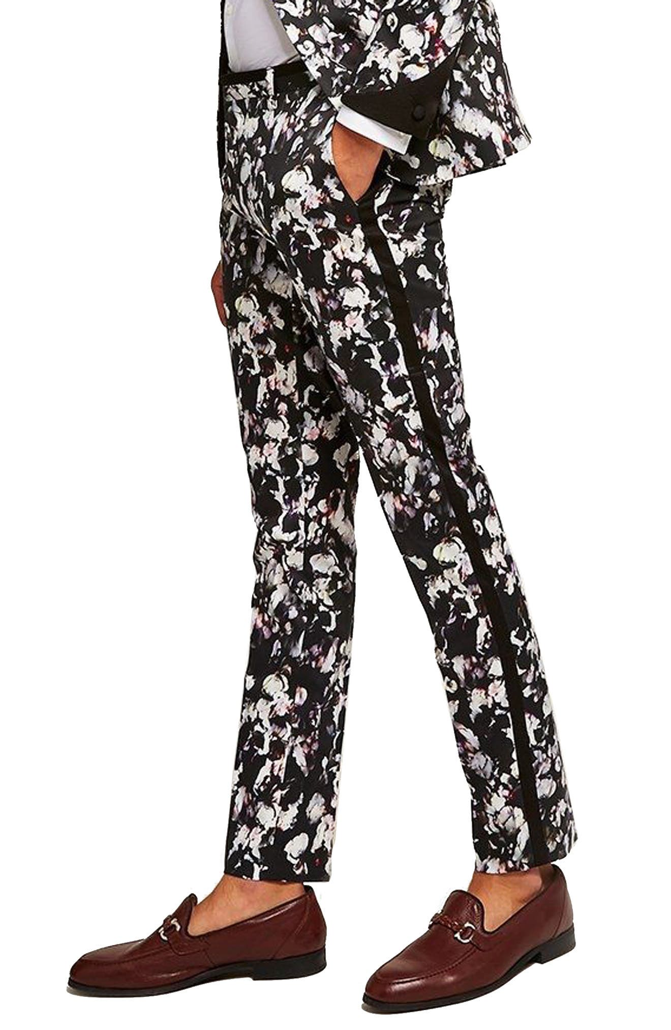 Ultra Skinny Fit Floral Tuxedo Trousers by Topman