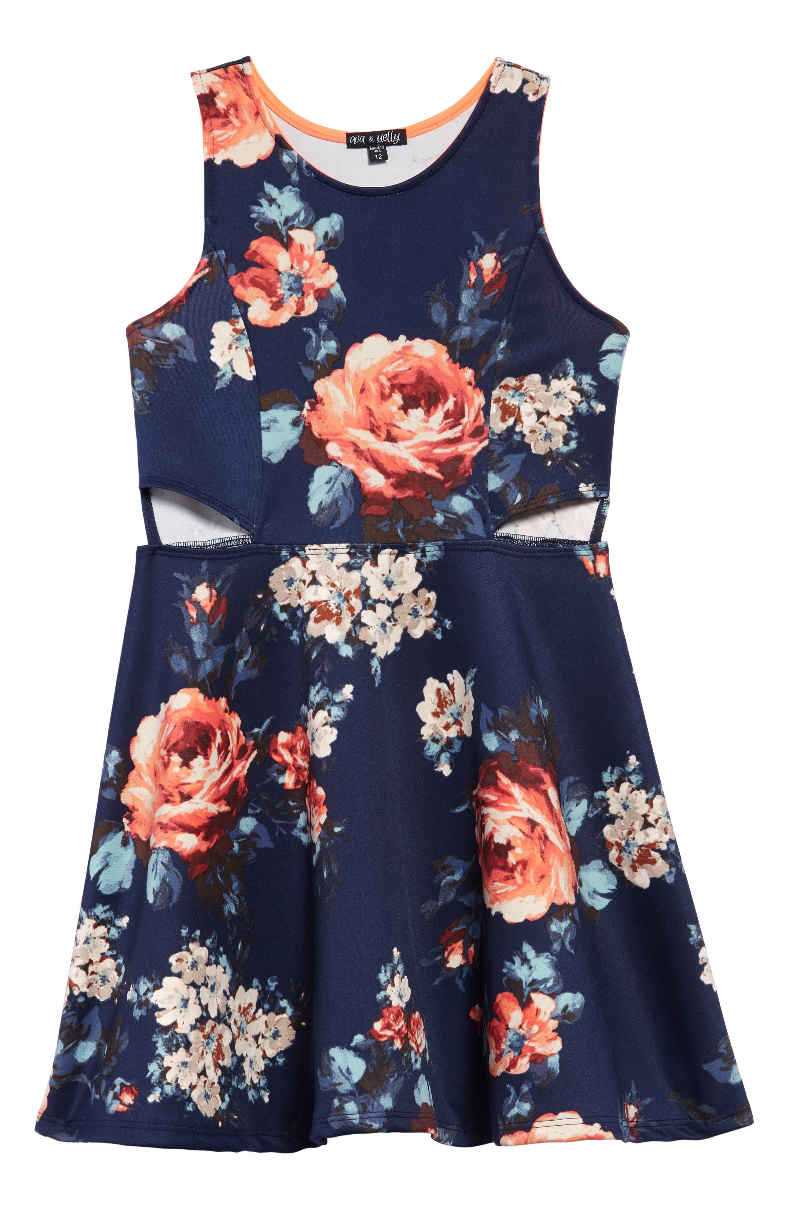 Floral Scuba Dress,                         Main,                         color, Navy