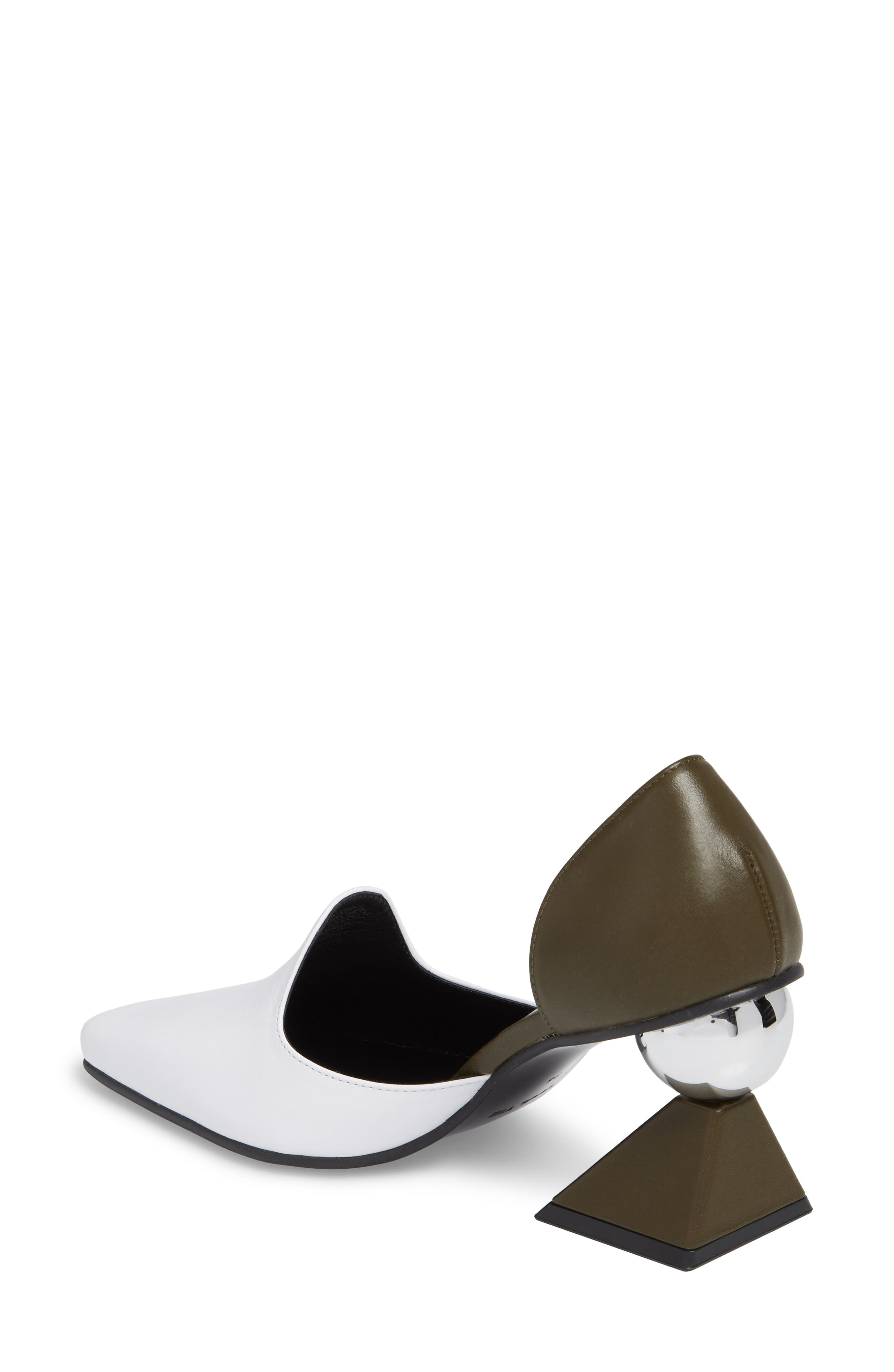 Statement Heel d'Orsay Pump,                             Alternate thumbnail 2, color,                             White/ Olive Green