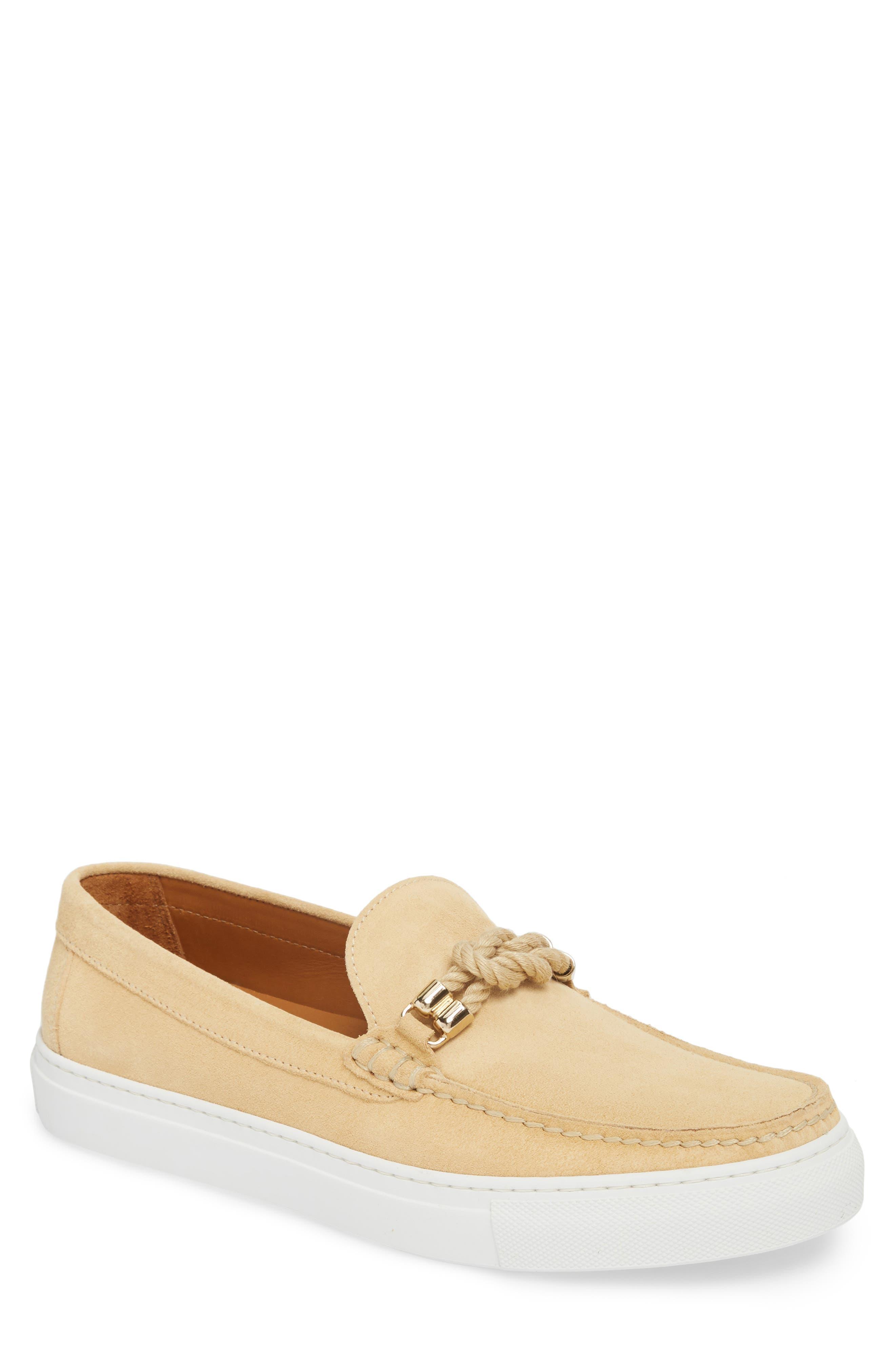 Bitton Square Knot Loafer,                             Main thumbnail 1, color,                             Beige Suede