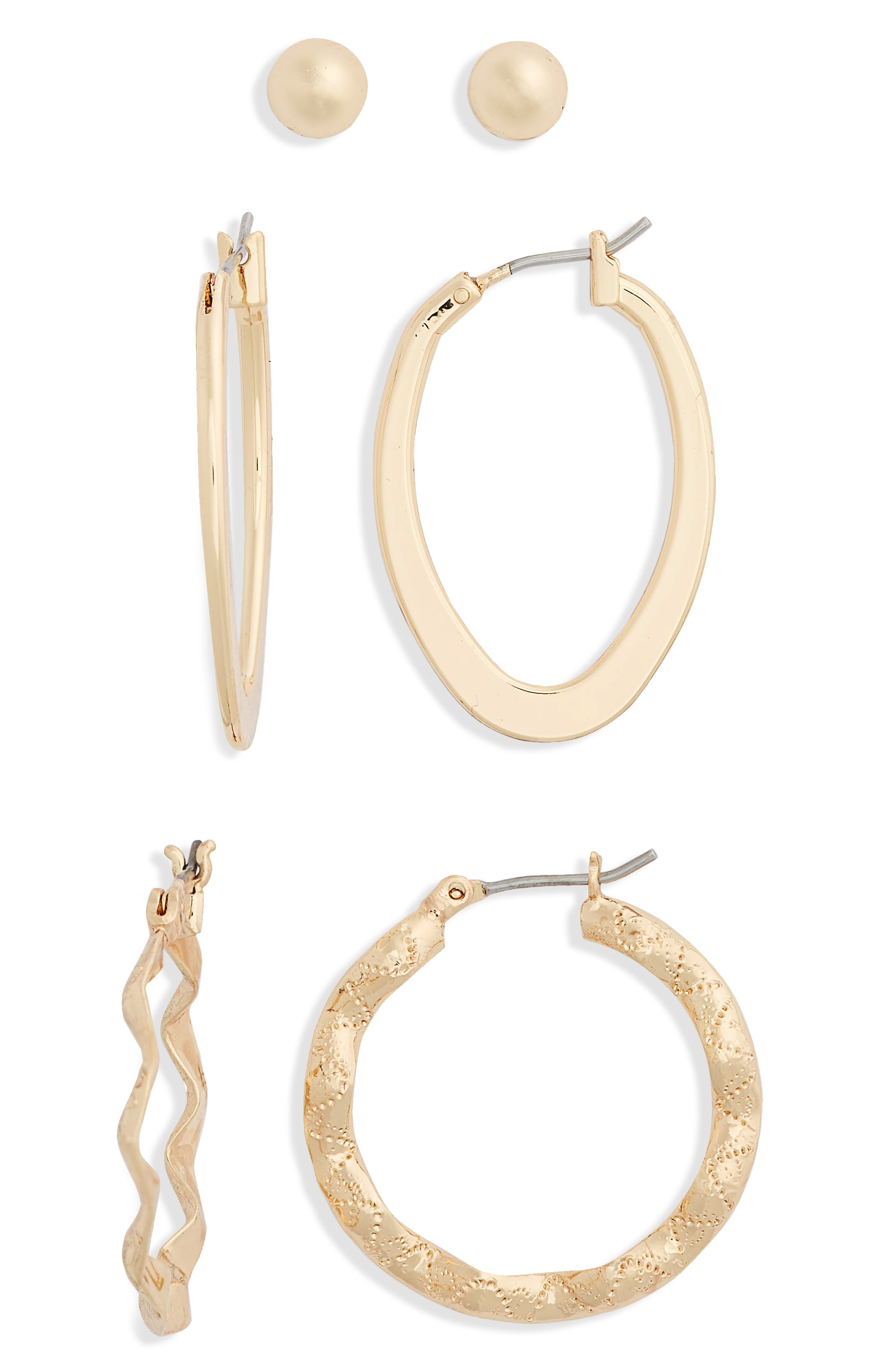 Mix 3-Pack Earrings,                             Main thumbnail 1, color,                             Gold