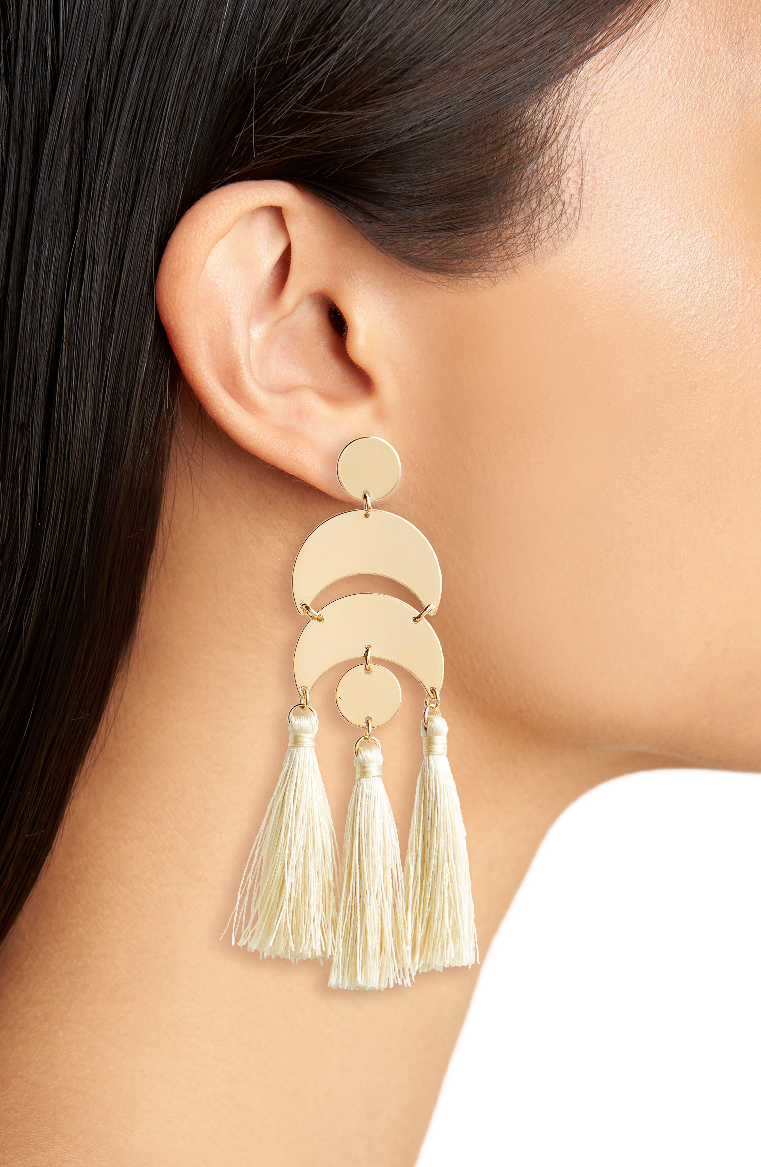 Metal & Tassel Drop Earrings,                             Alternate thumbnail 2, color,                             Cream