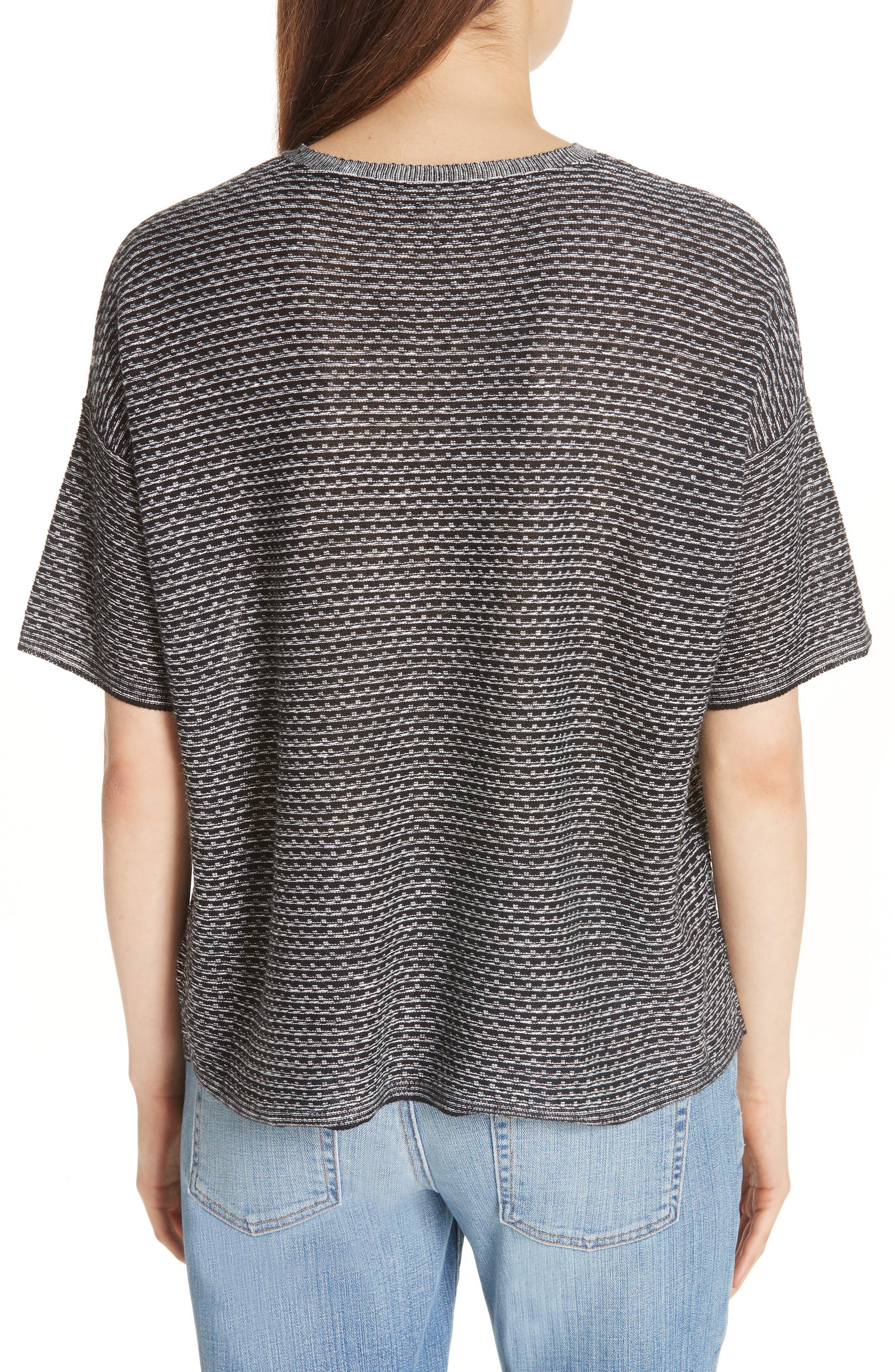 Organic Linen Jacquard Sweater,                             Alternate thumbnail 2, color,                             Black/ Soft White