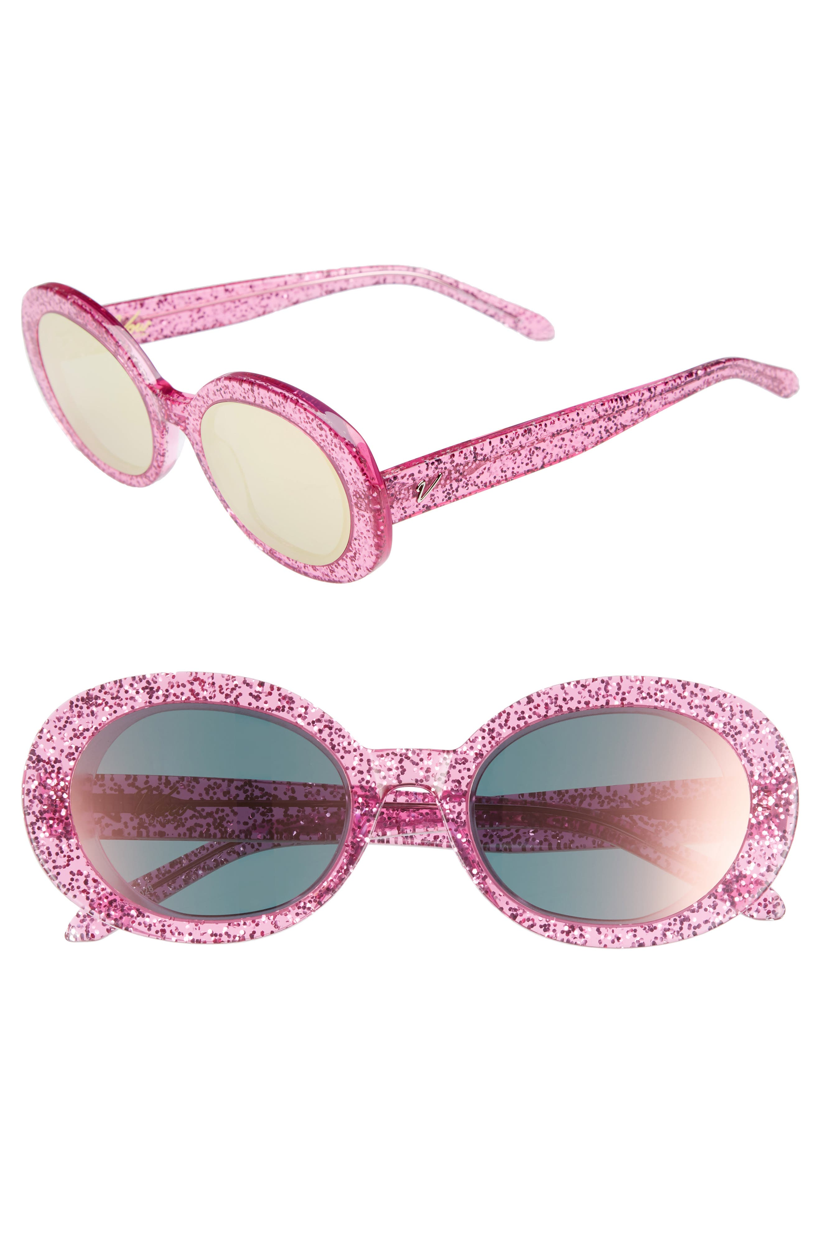 Selena 53mm Oval Sunglasses,                             Main thumbnail 1, color,                             Pink Glitter/ Pink Mirror