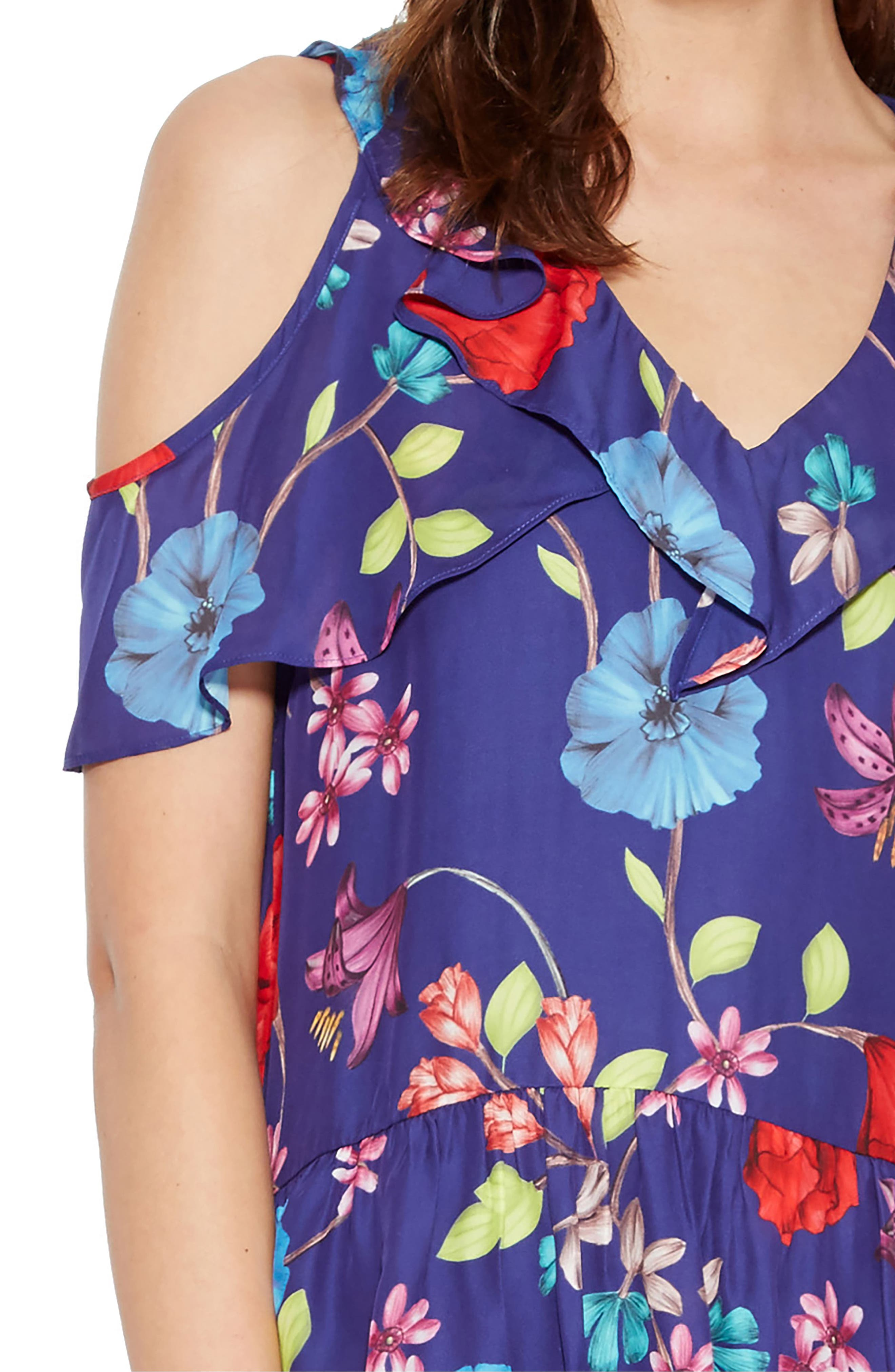 Dedra Silk Blend Cold Shoulder Blouse,                             Alternate thumbnail 4, color,                             Valencia Eclipse