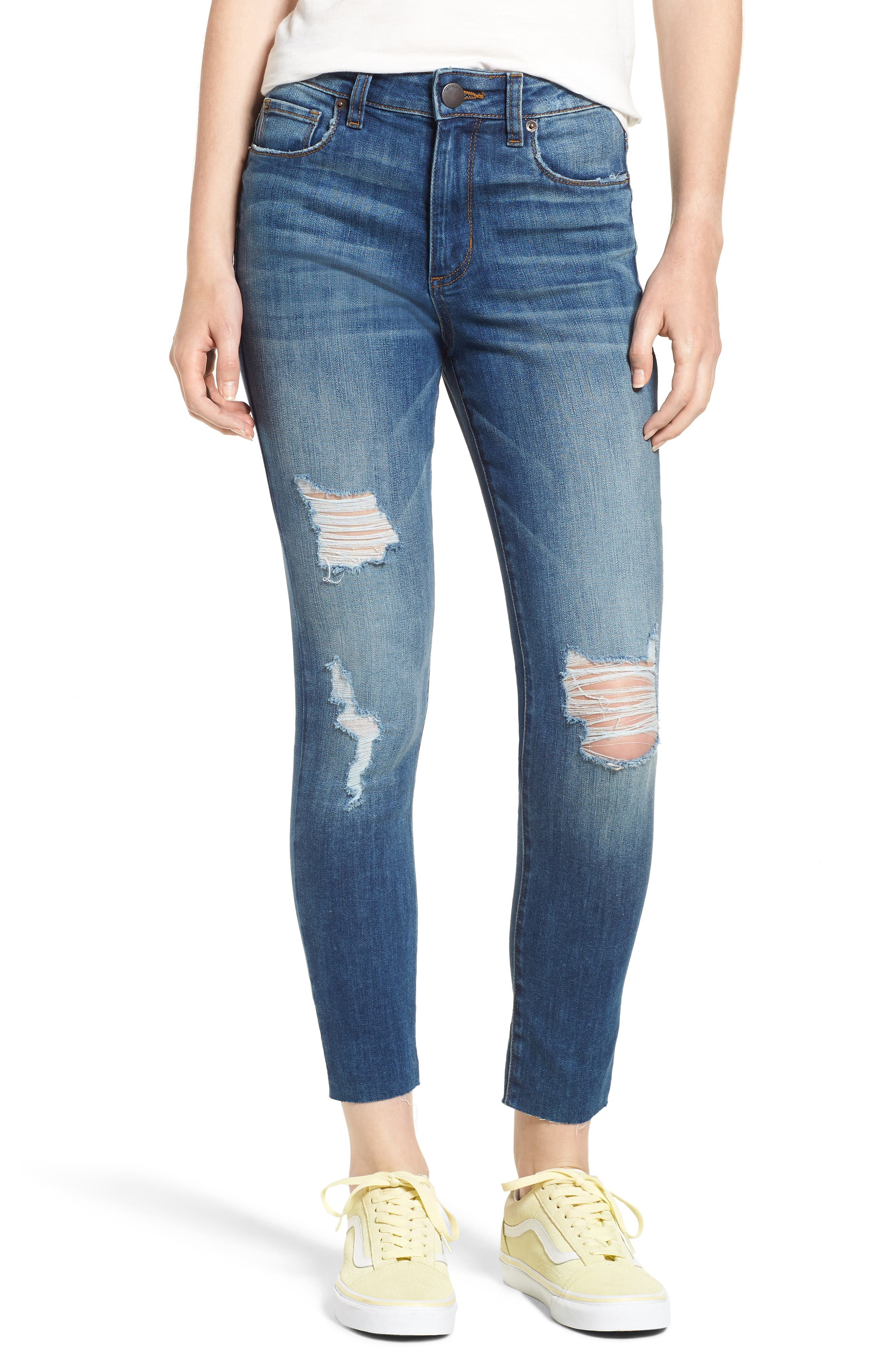 Ellie Ripped High Rise Cropped Jeans,                             Main thumbnail 1, color,                             Lamont W/ Med Ba