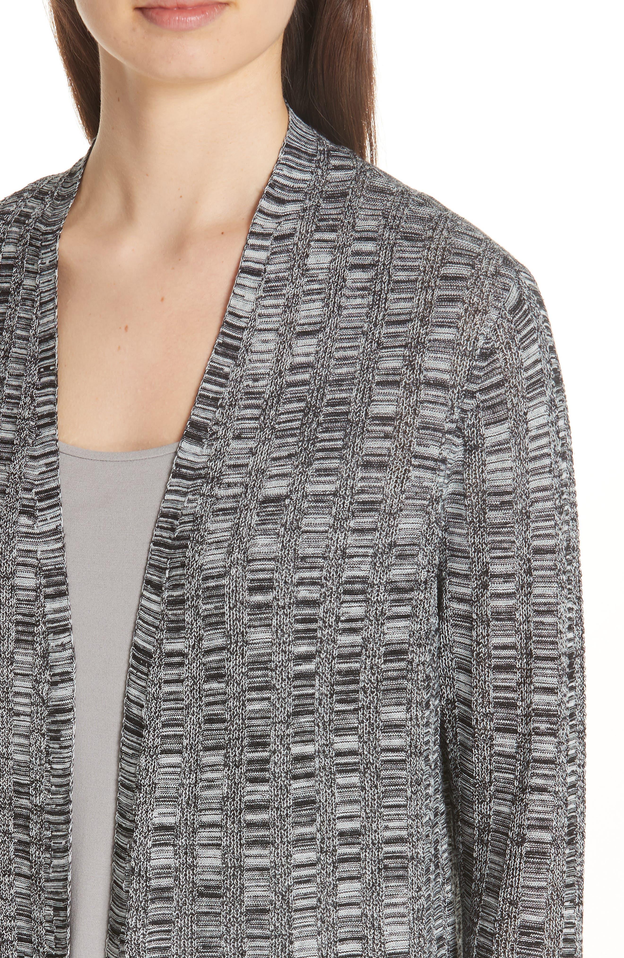 Bell Sleeve Silk Blend Cardigan,                             Alternate thumbnail 3, color,                             Black