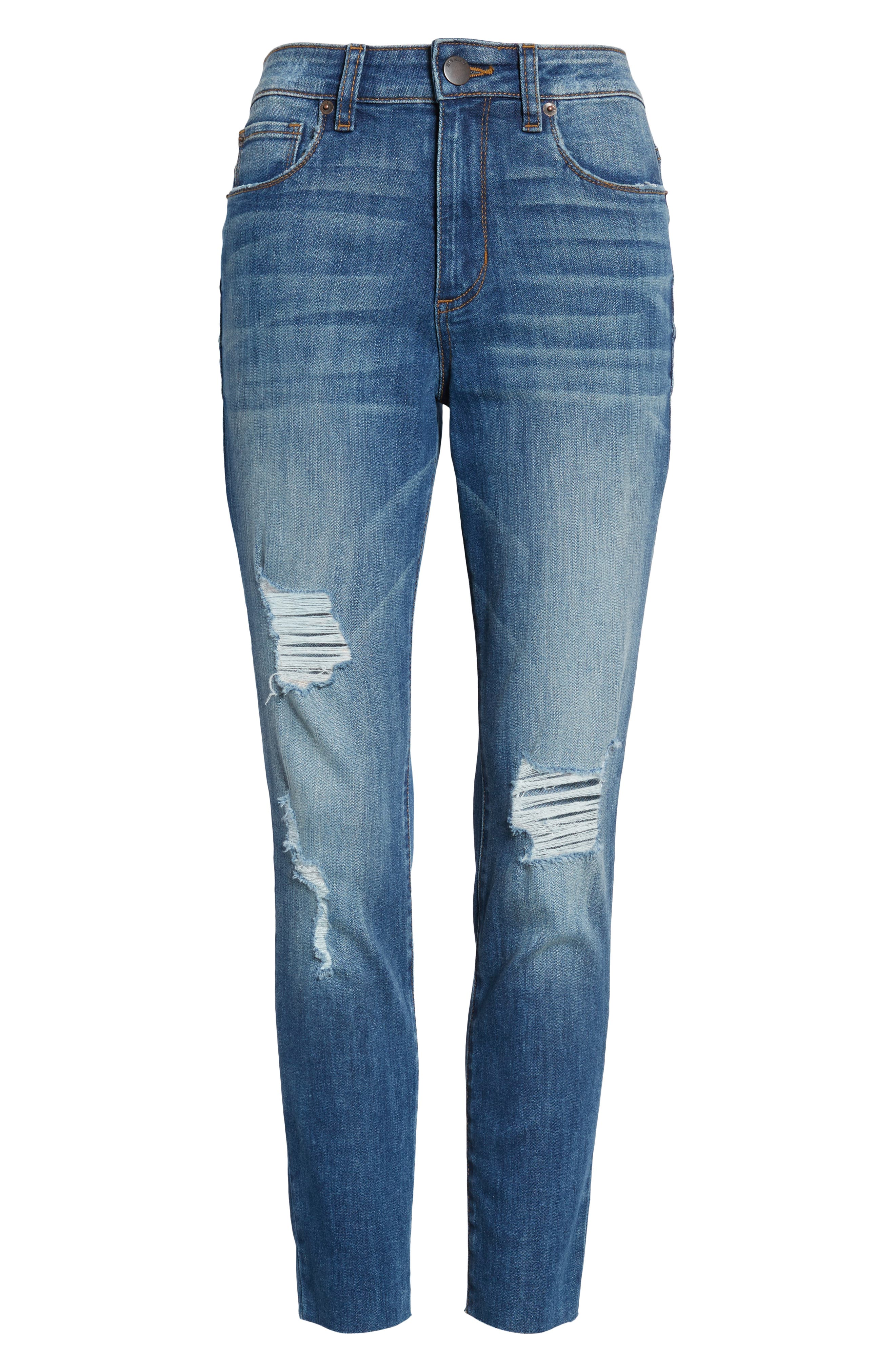 Ellie Ripped High Rise Cropped Jeans,                             Alternate thumbnail 7, color,                             Lamont W/ Med Ba