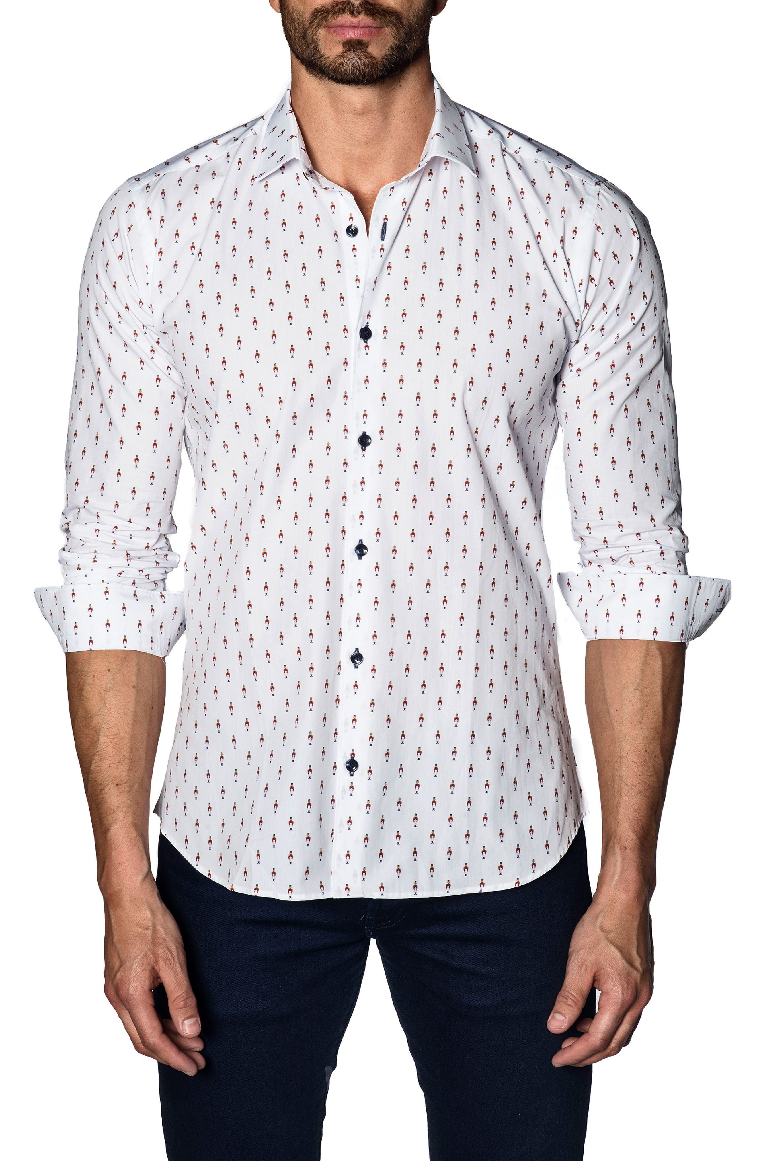 Trim Fit Sport Shirt,                             Main thumbnail 1, color,                             White Soldier