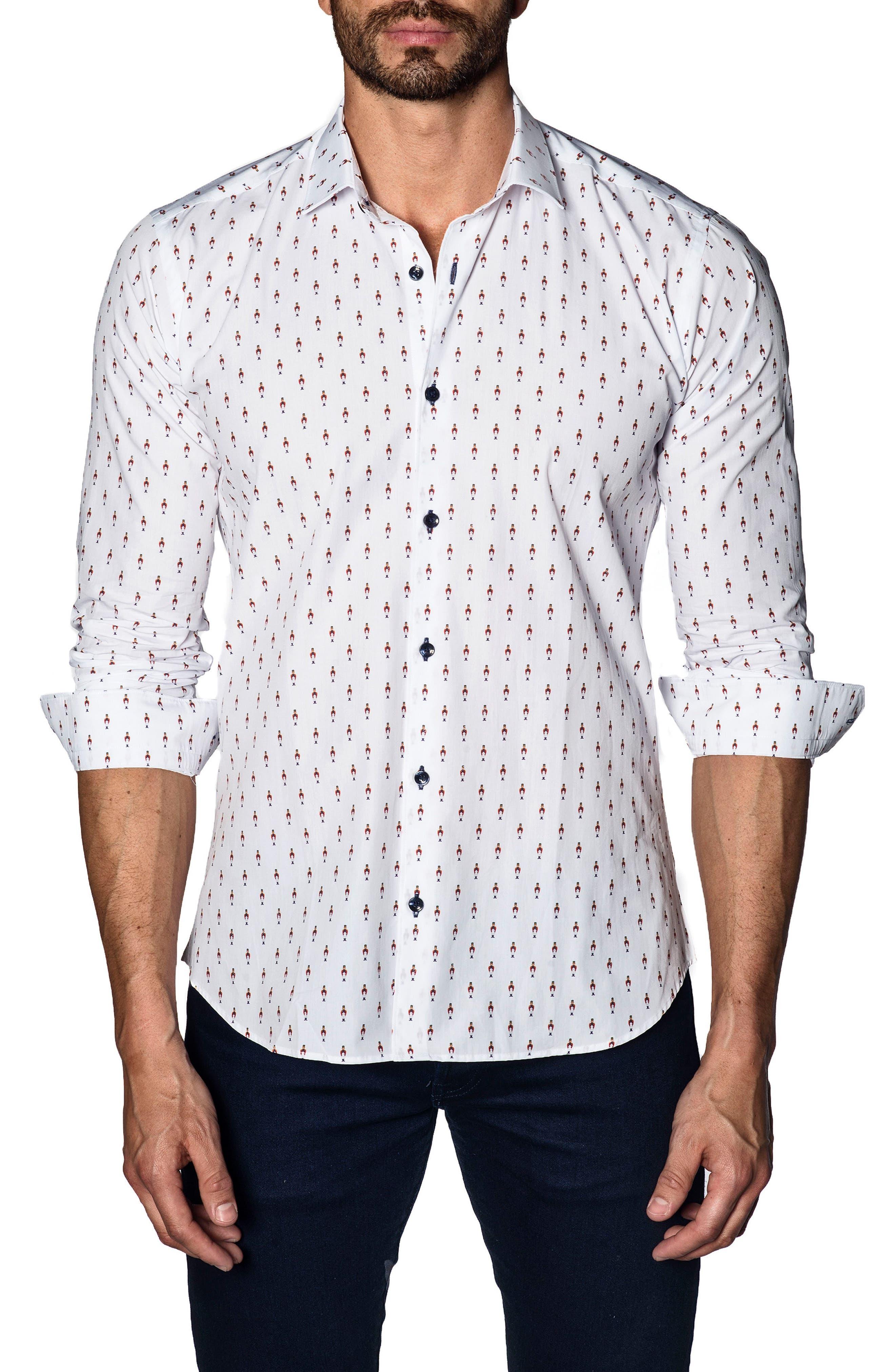 Trim Fit Sport Shirt,                         Main,                         color, White Soldier