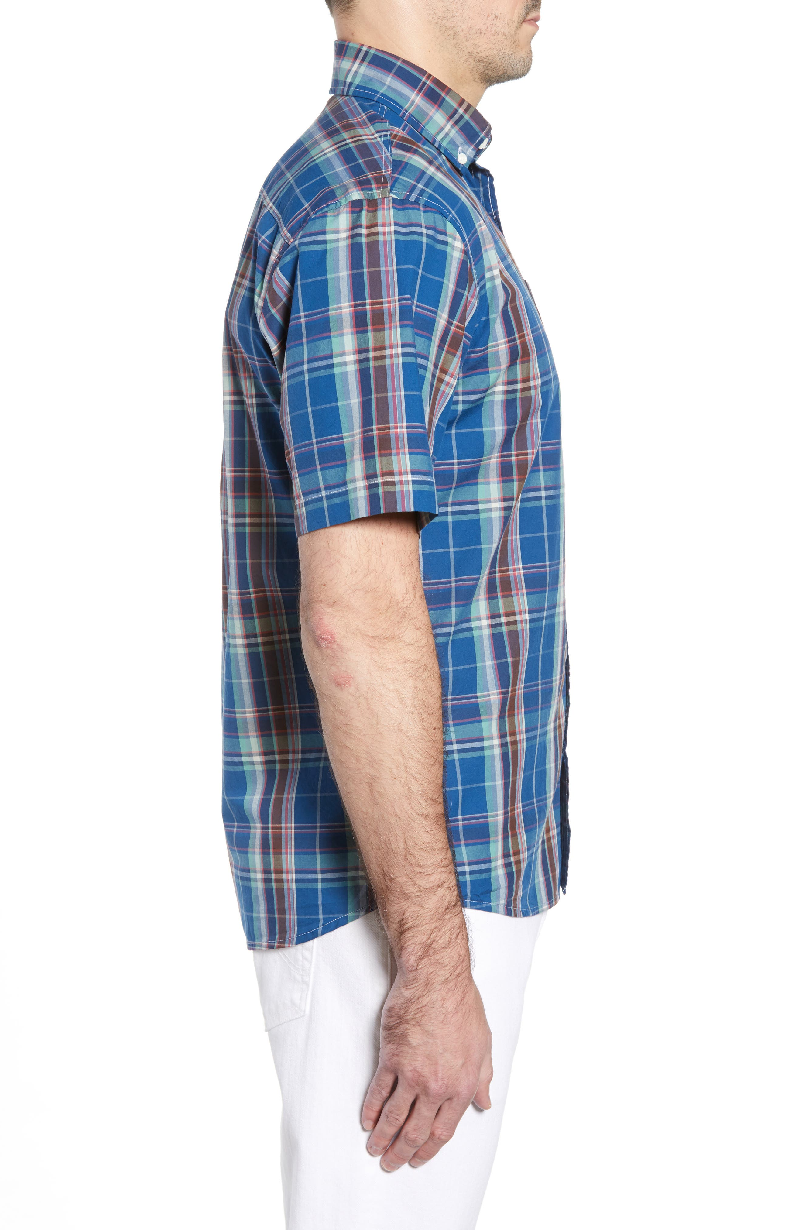 Exum Classic Fit Plaid Sport Shirt,                             Alternate thumbnail 5, color,                             Lake