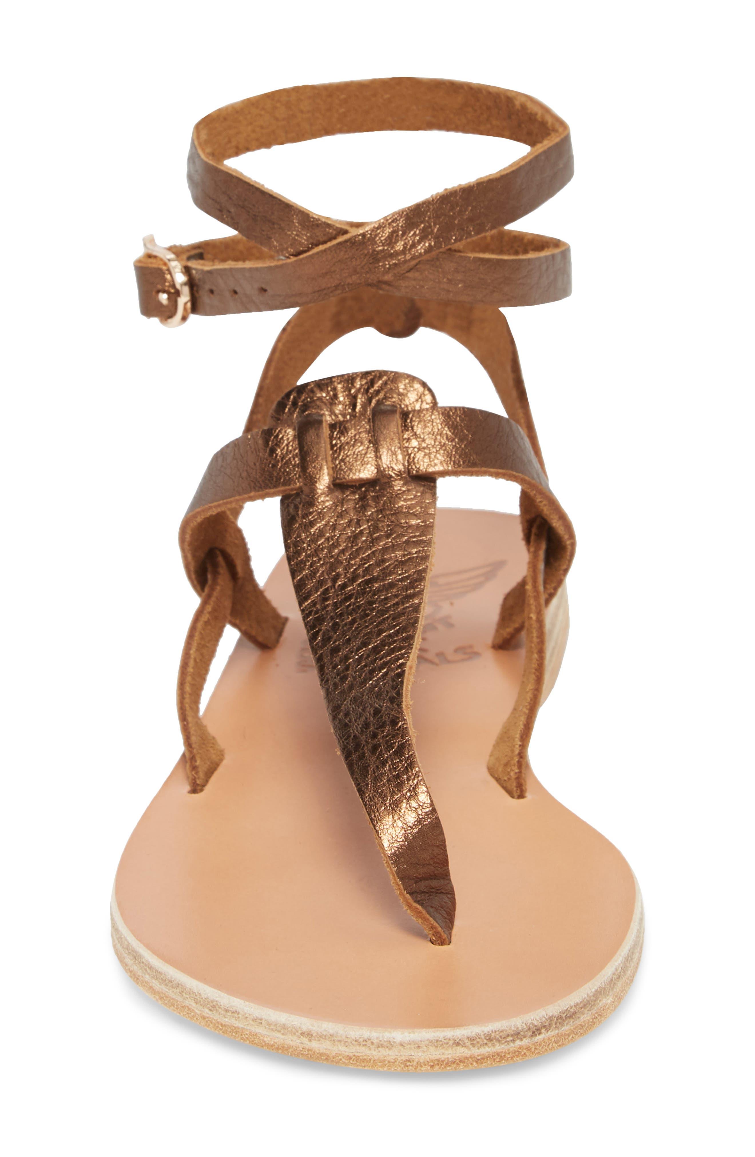 Estia Ankle Wrap Sandal,                             Alternate thumbnail 4, color,                             Bronze/ Cocco