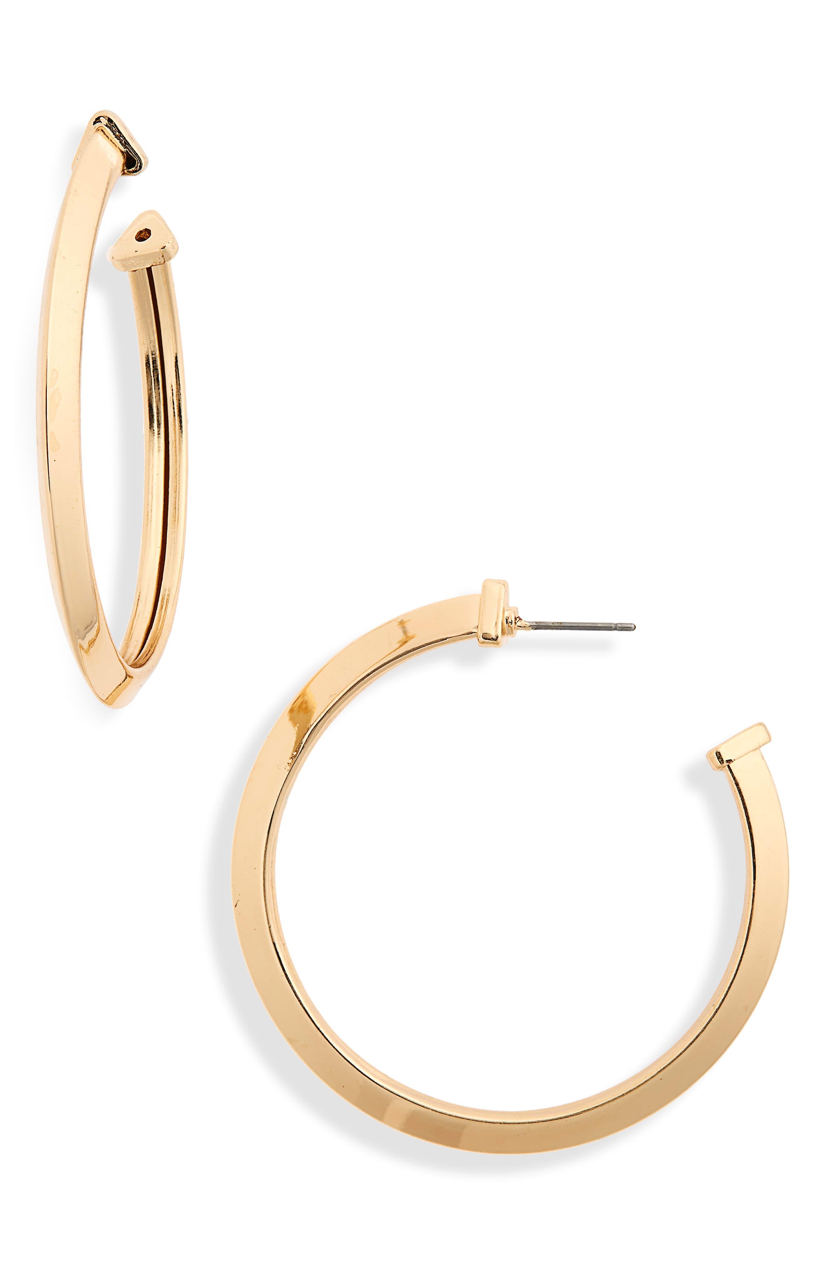 Angular Hoop Earrings,                         Main,                         color, Gold