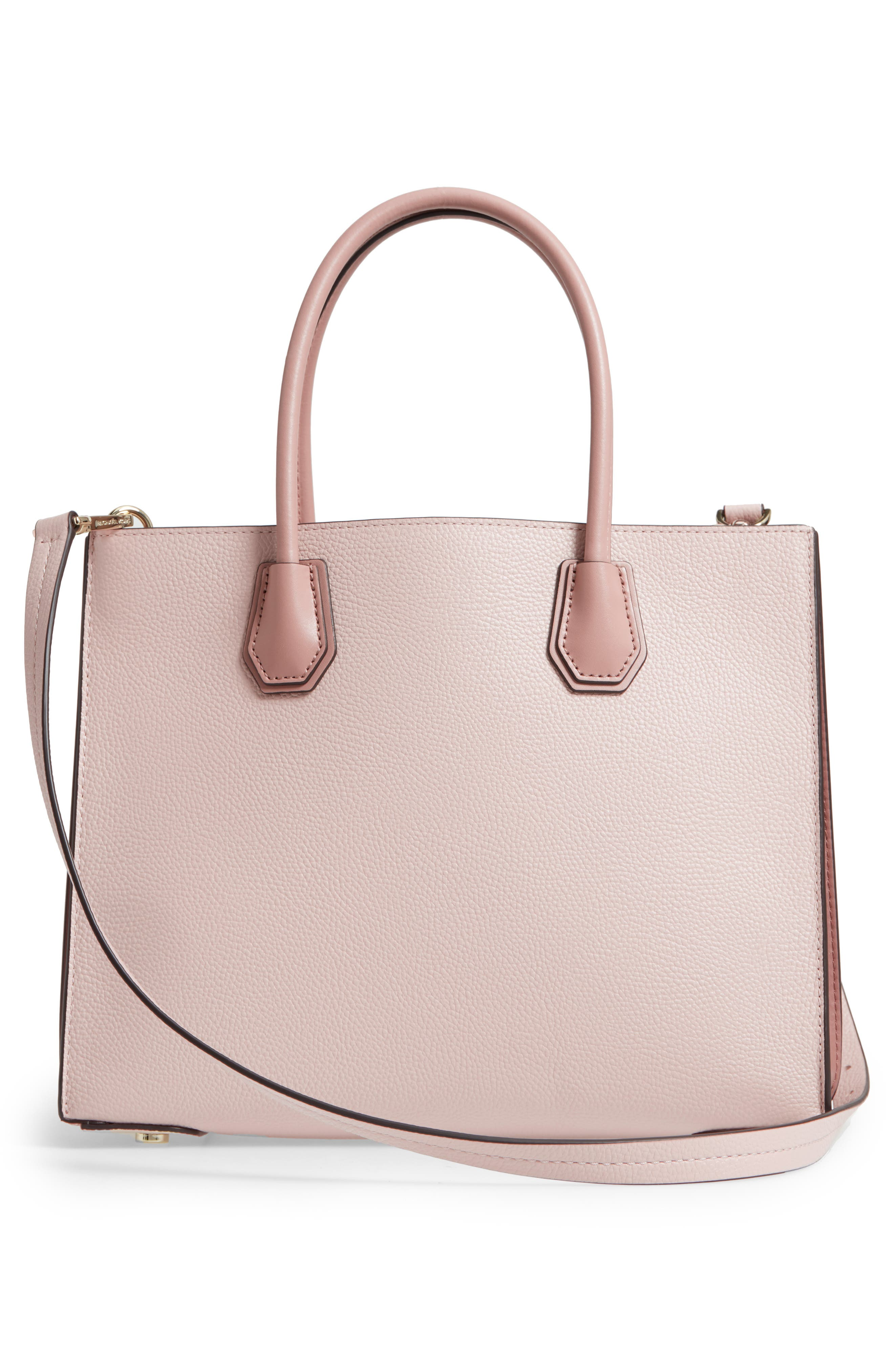 Large Mercer Leather Tote,                             Alternate thumbnail 3, color,                             Soft Pink