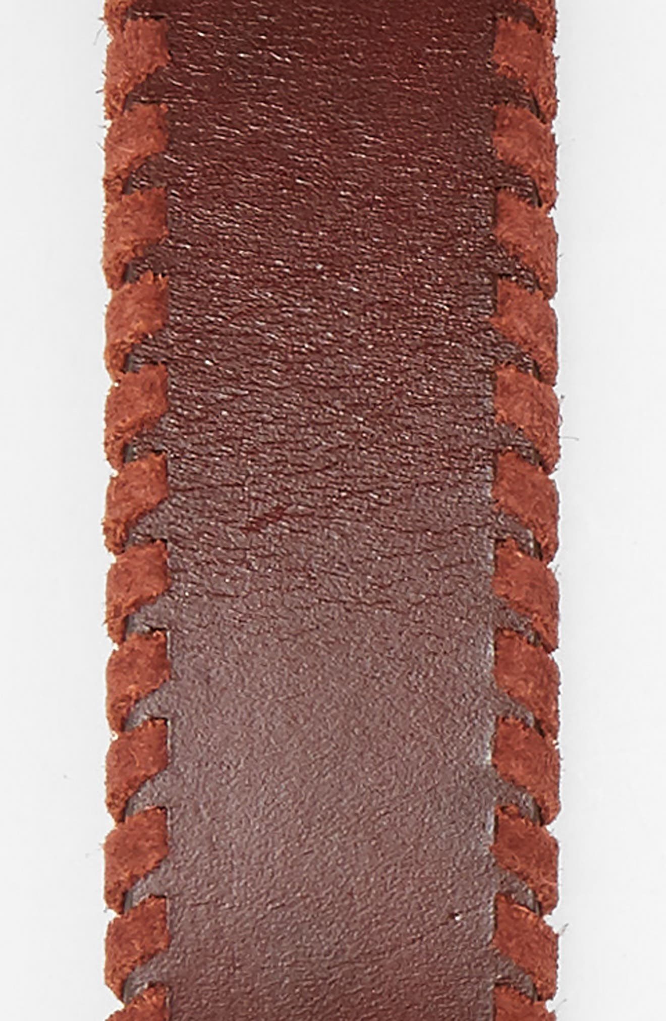 Layla Whipstitch Leather Belt,                             Alternate thumbnail 3, color,                             Luggage / Nickel