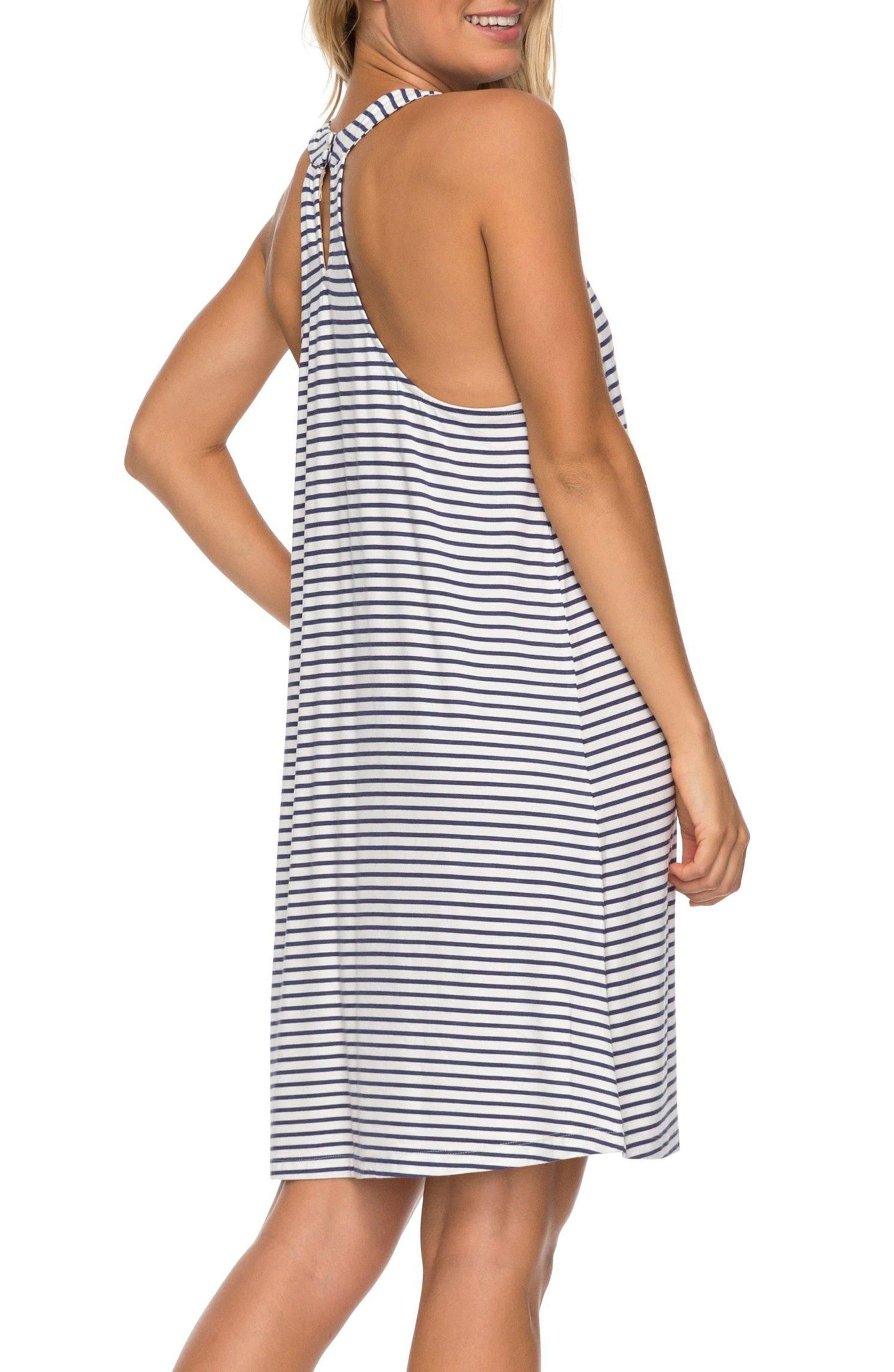 Print Halter Dress,                             Alternate thumbnail 2, color,                             Crown Blue Cool Stripe