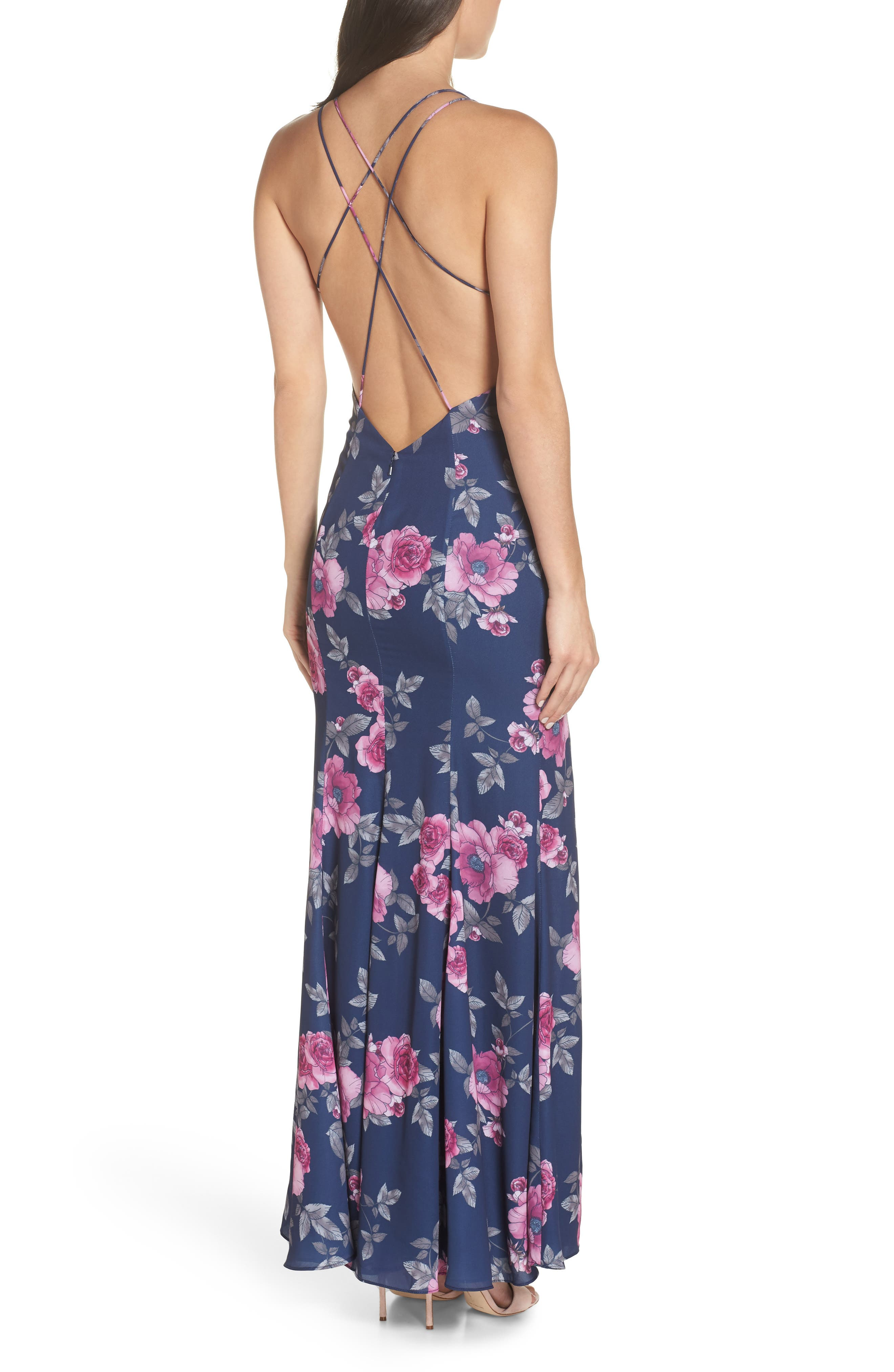 The Rowen Floral Gown,                             Alternate thumbnail 2, color,                             Midnight Flora