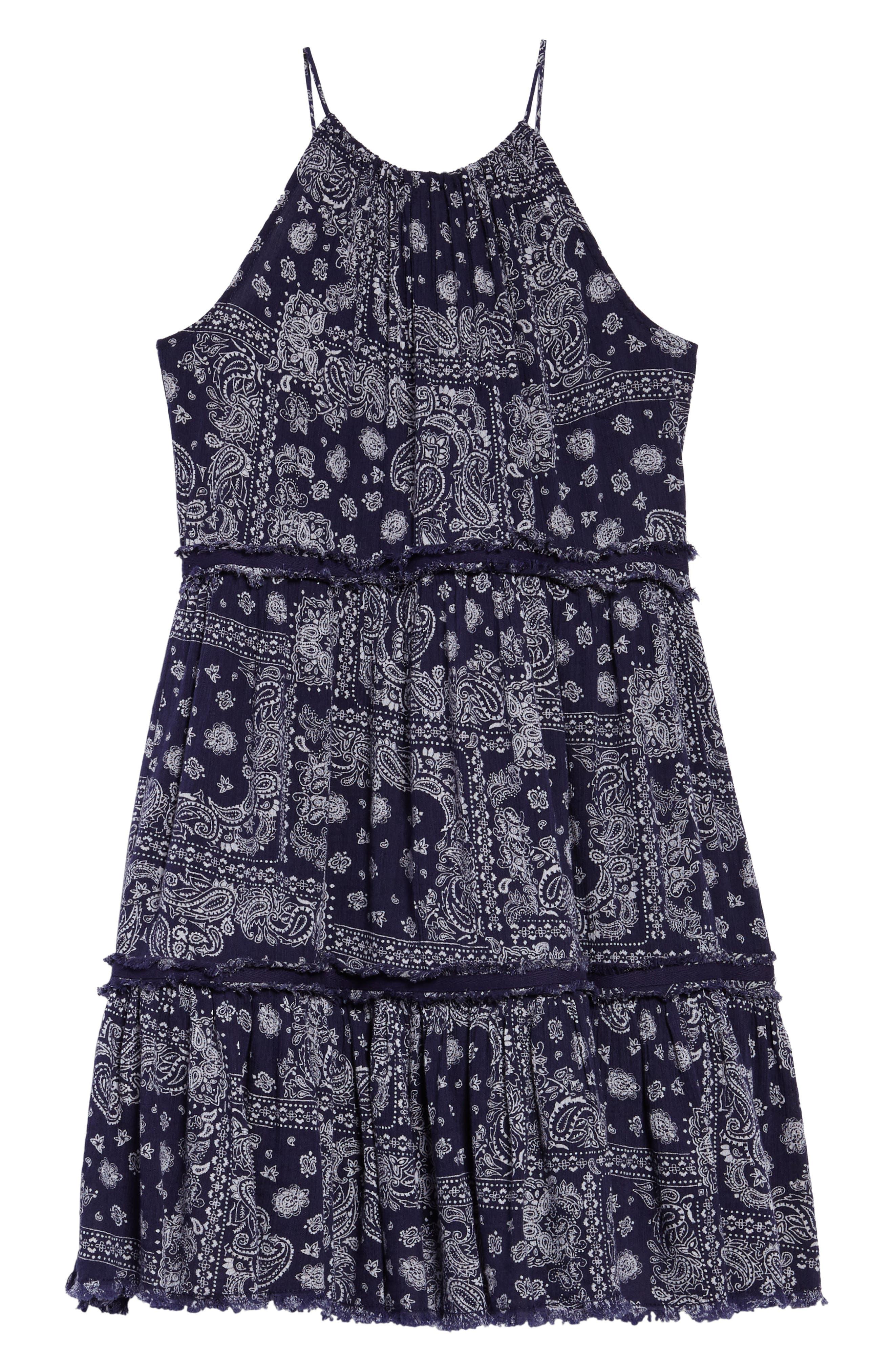 Gauzy TIered Dress,                             Alternate thumbnail 2, color,                             Navy Ribbon Bandana