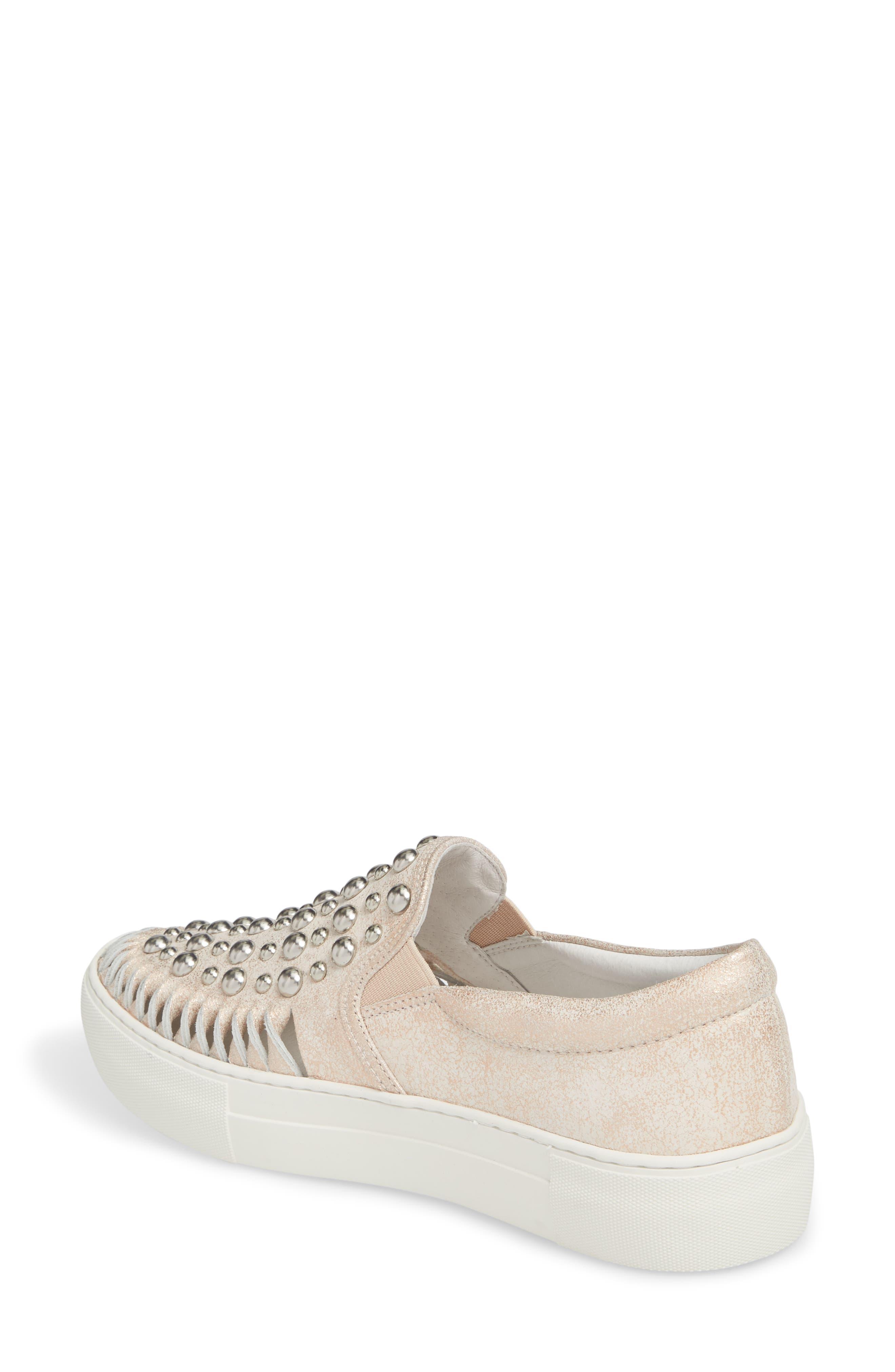AZT Studded Slip-On Sneaker,                             Alternate thumbnail 2, color,                             Soft Pink Metallic Leather