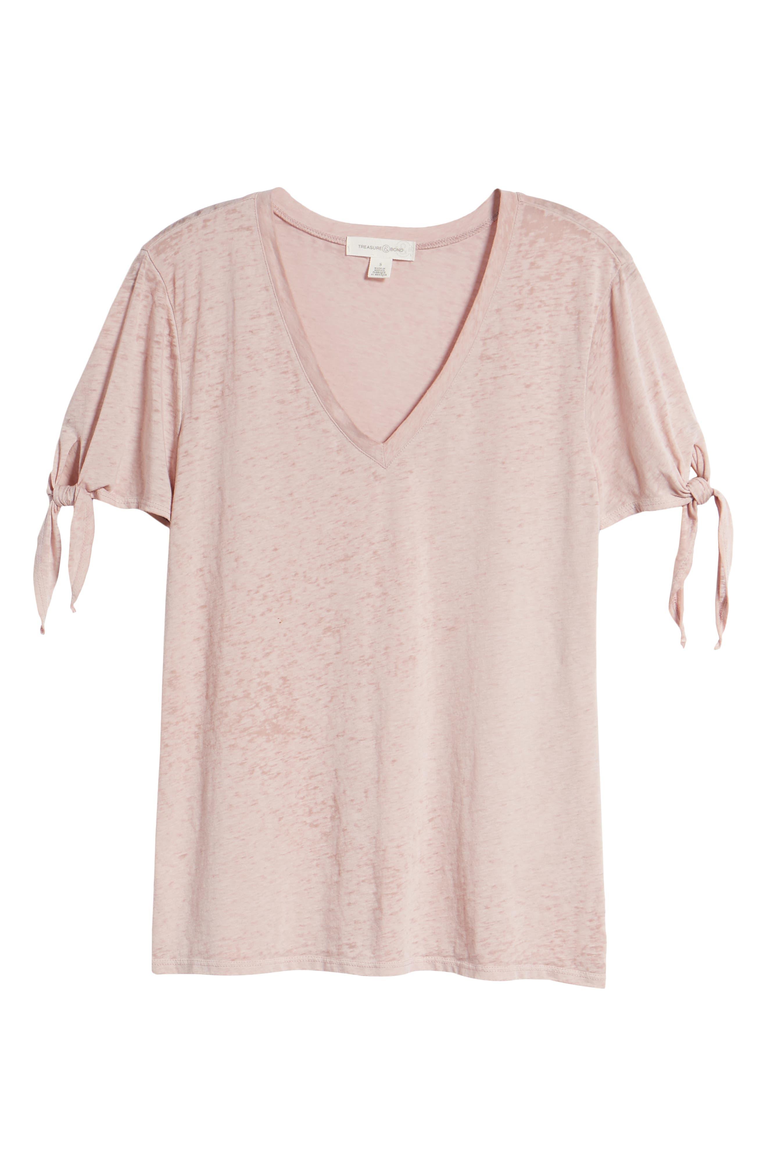 Tie Sleeve Tee,                             Alternate thumbnail 6, color,                             Pink Adobe