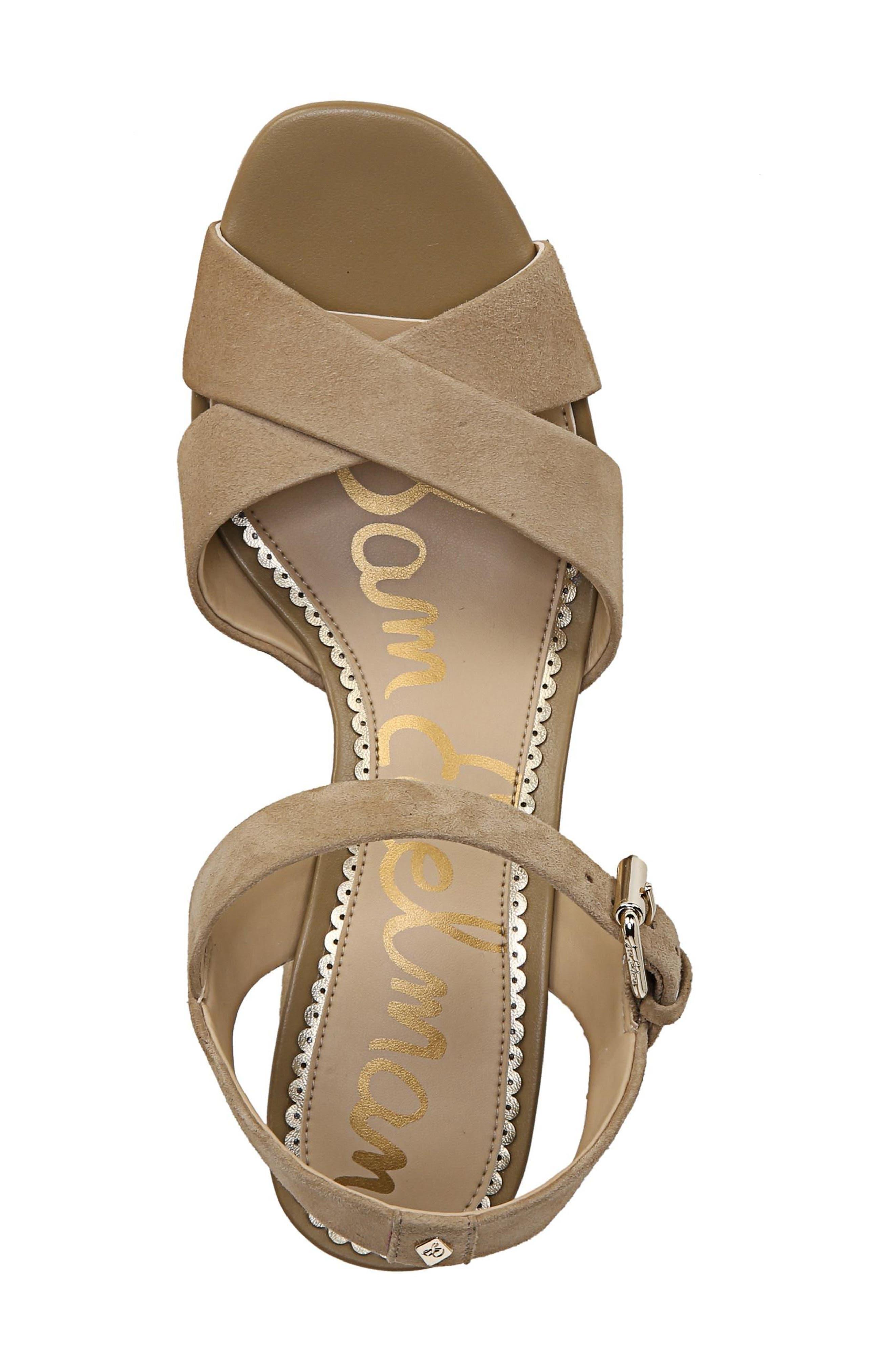 Jolene Platform Sandal,                             Alternate thumbnail 5, color,                             Oatmeal Leather