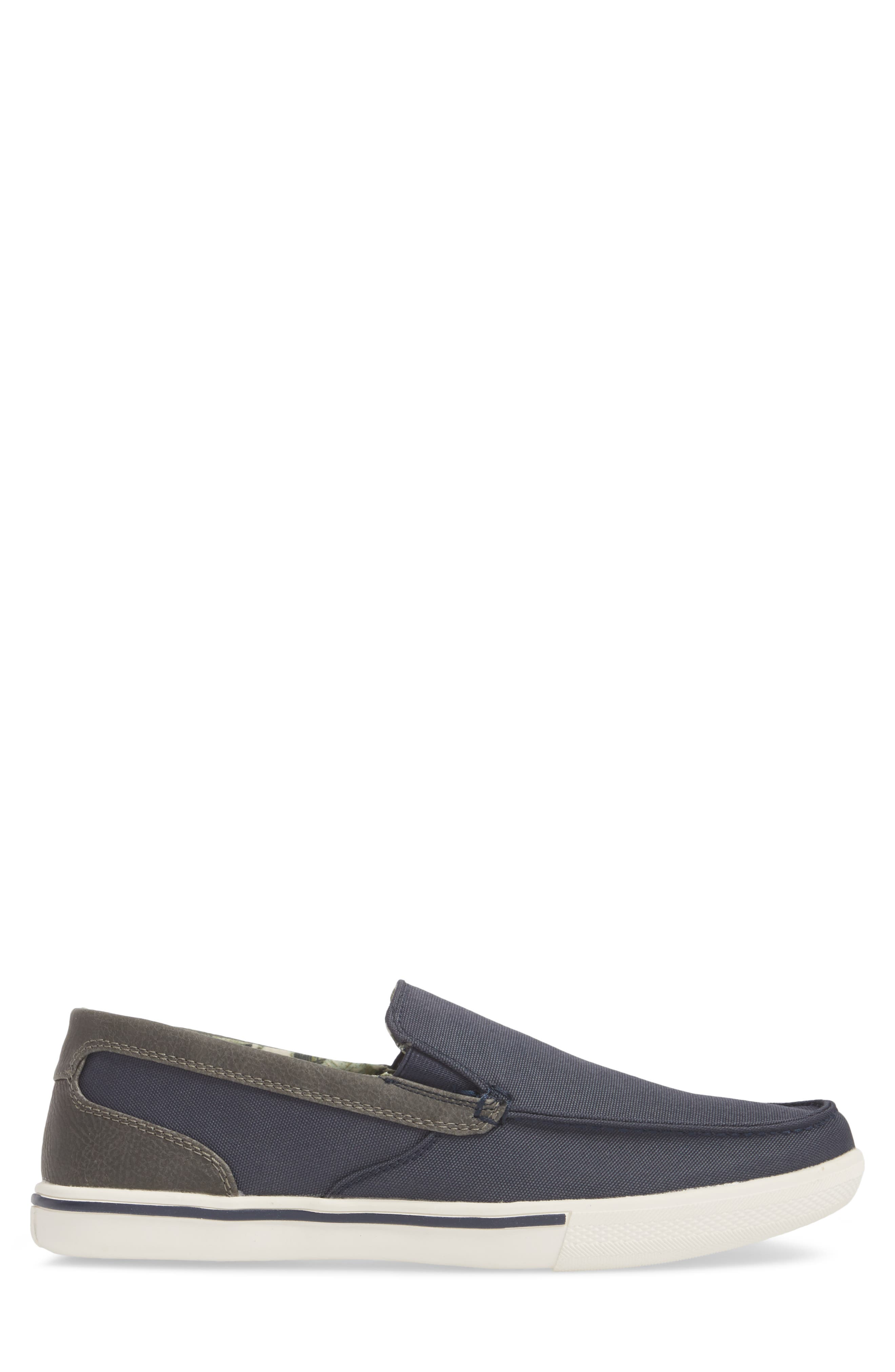 Calderon Loafer,                             Alternate thumbnail 3, color,                             Navy Canvas/ Leather