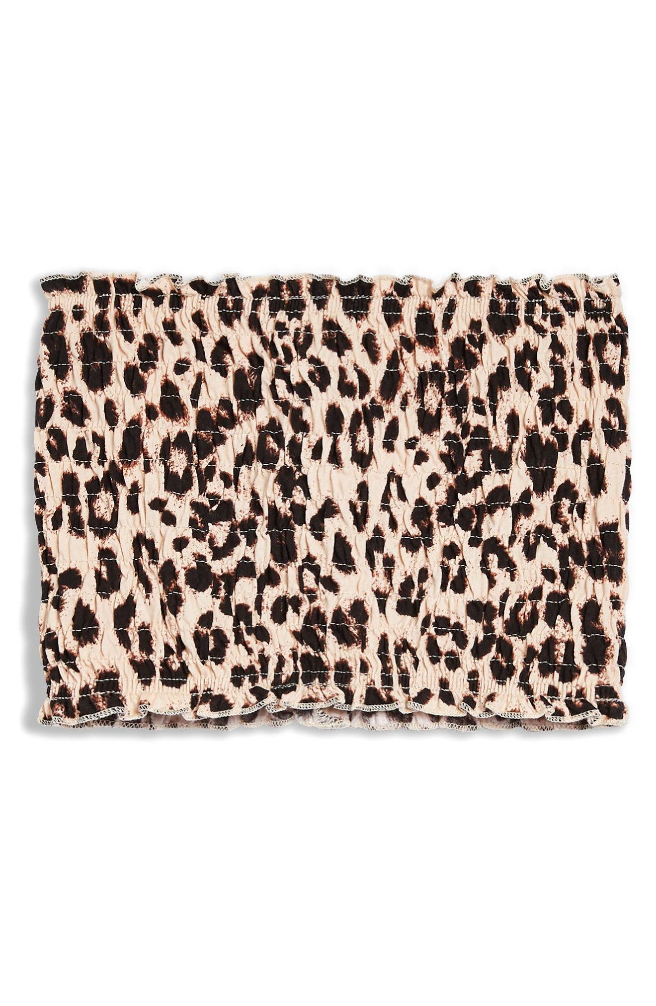 Spot Shirred Bandeau Top,                             Alternate thumbnail 3, color,                             Leopard
