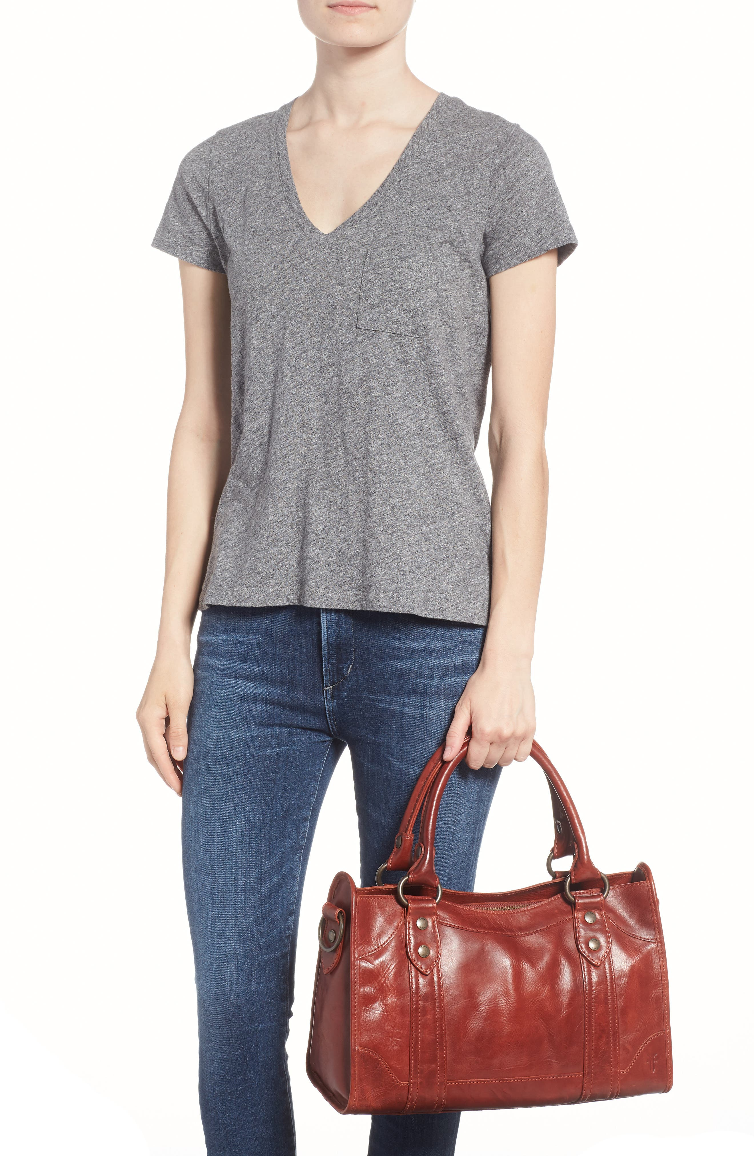 'Melissa' Washed Leather Satchel,                             Alternate thumbnail 2, color,                             Red Clay