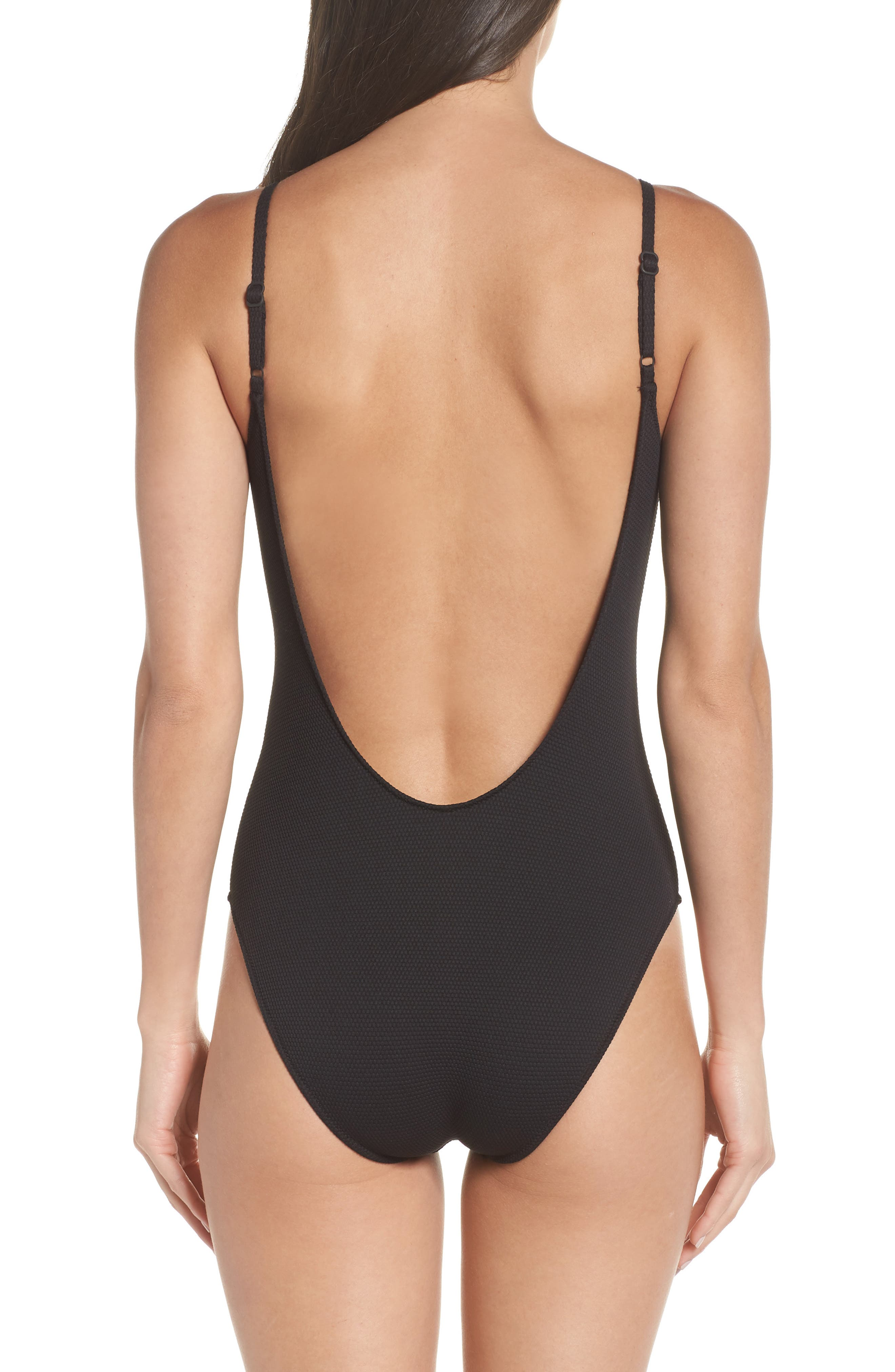 Textured One-Piece Swimsuit,                             Alternate thumbnail 2, color,                             Black