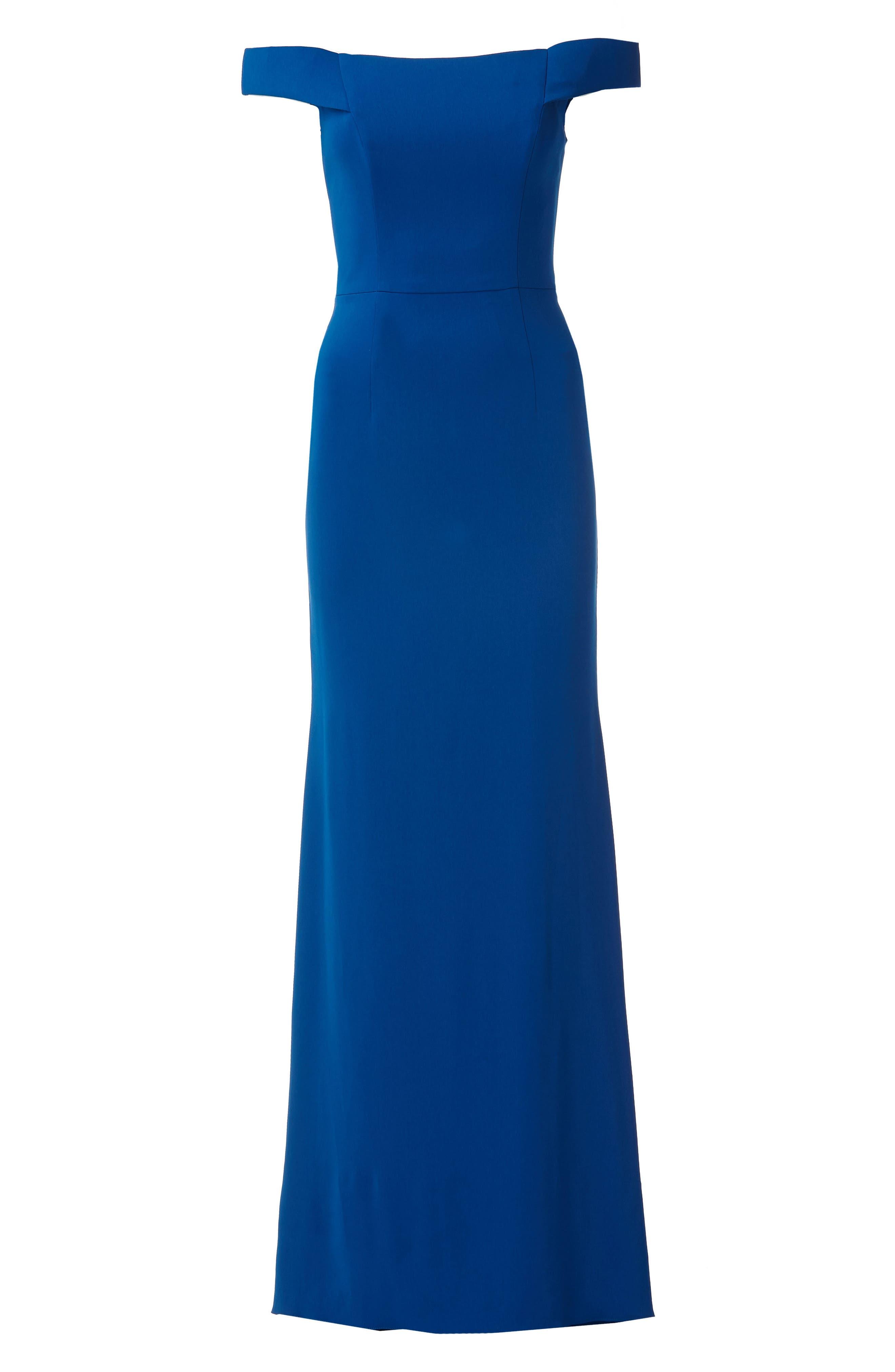 Carmen Marc Valvo Crepe Gown,                             Alternate thumbnail 5, color,                             Sapphire