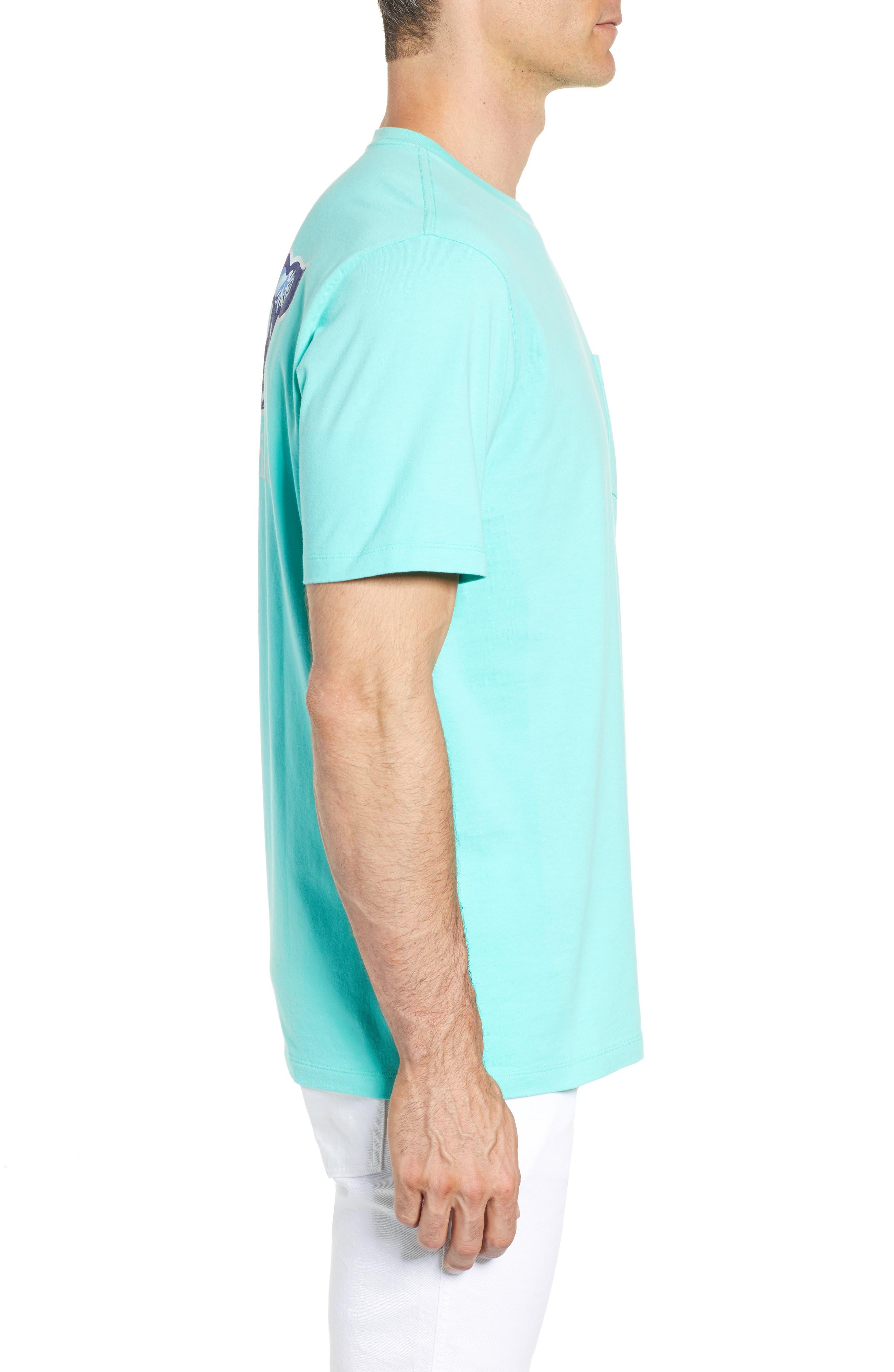 Starfish Whale Pocket T-Shirt,                             Alternate thumbnail 3, color,                             Capri Blue