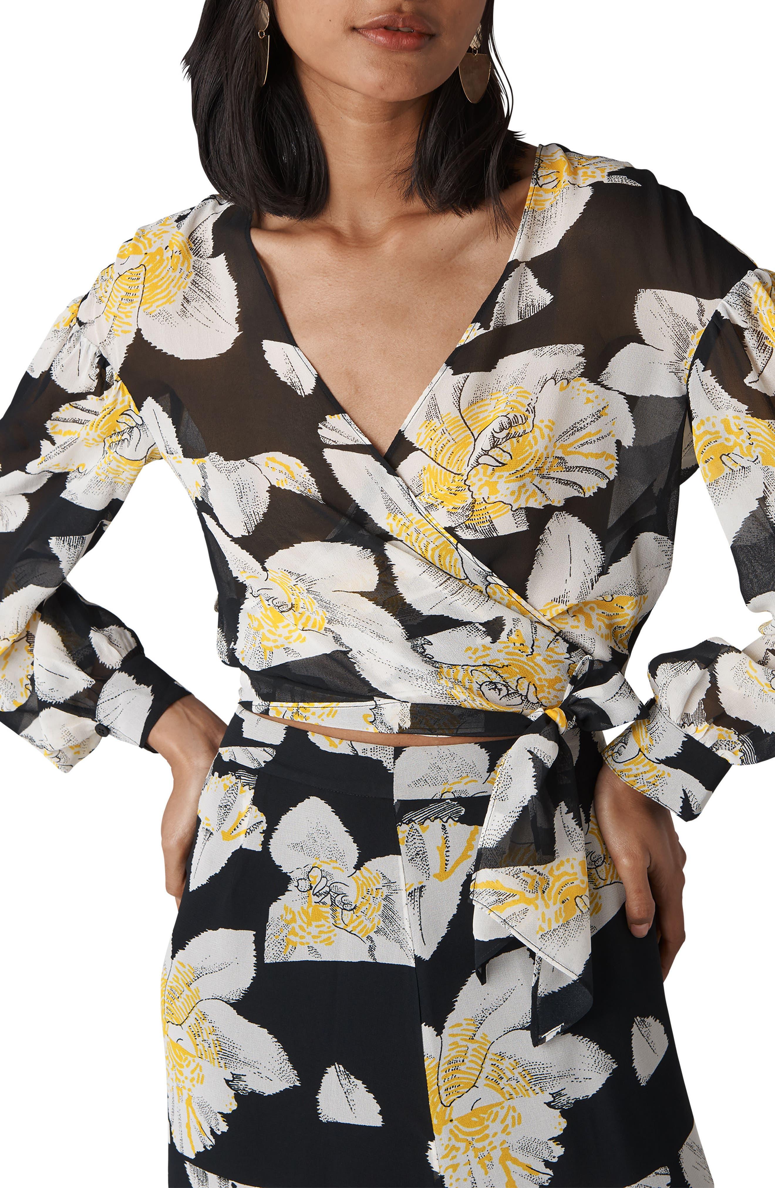 Rika Floral Print Silk Wrap Top,                         Main,                         color, Multicolor