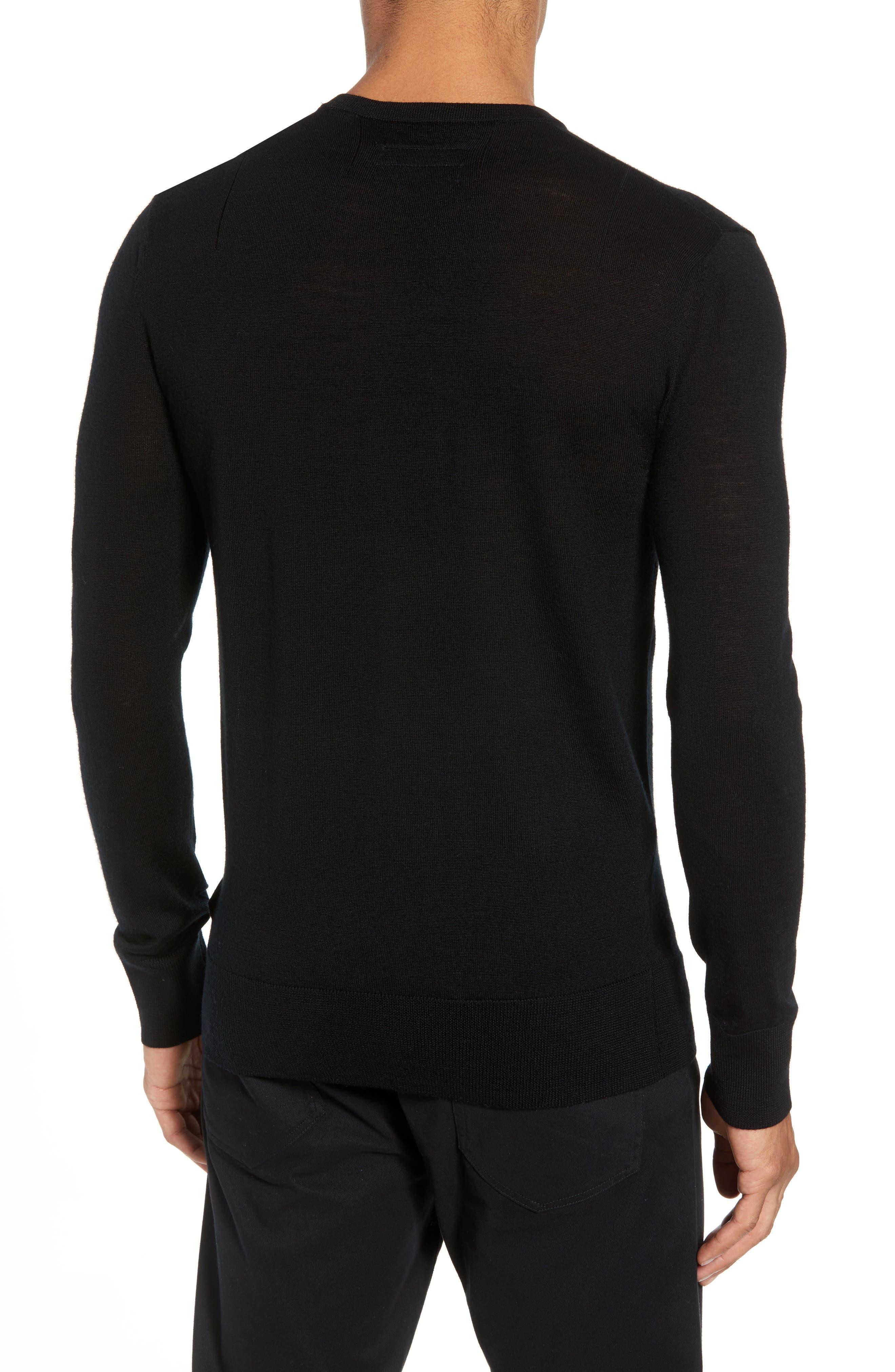 Mode Slim Fit Merino Wool Sweater,                             Alternate thumbnail 2, color,                             Black