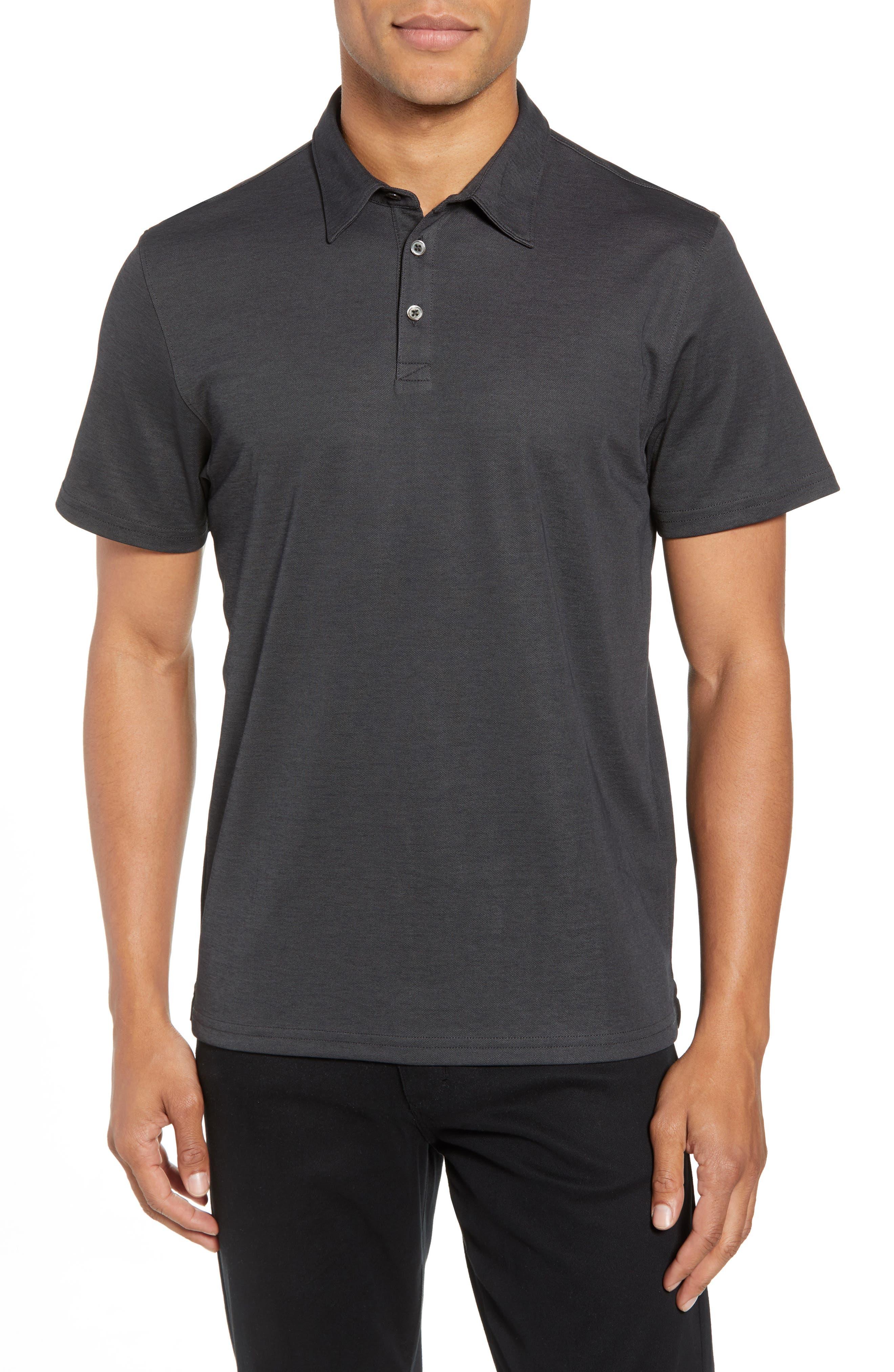 Caldwell Piqué Trim Fit Polo,                         Main,                         color, Black