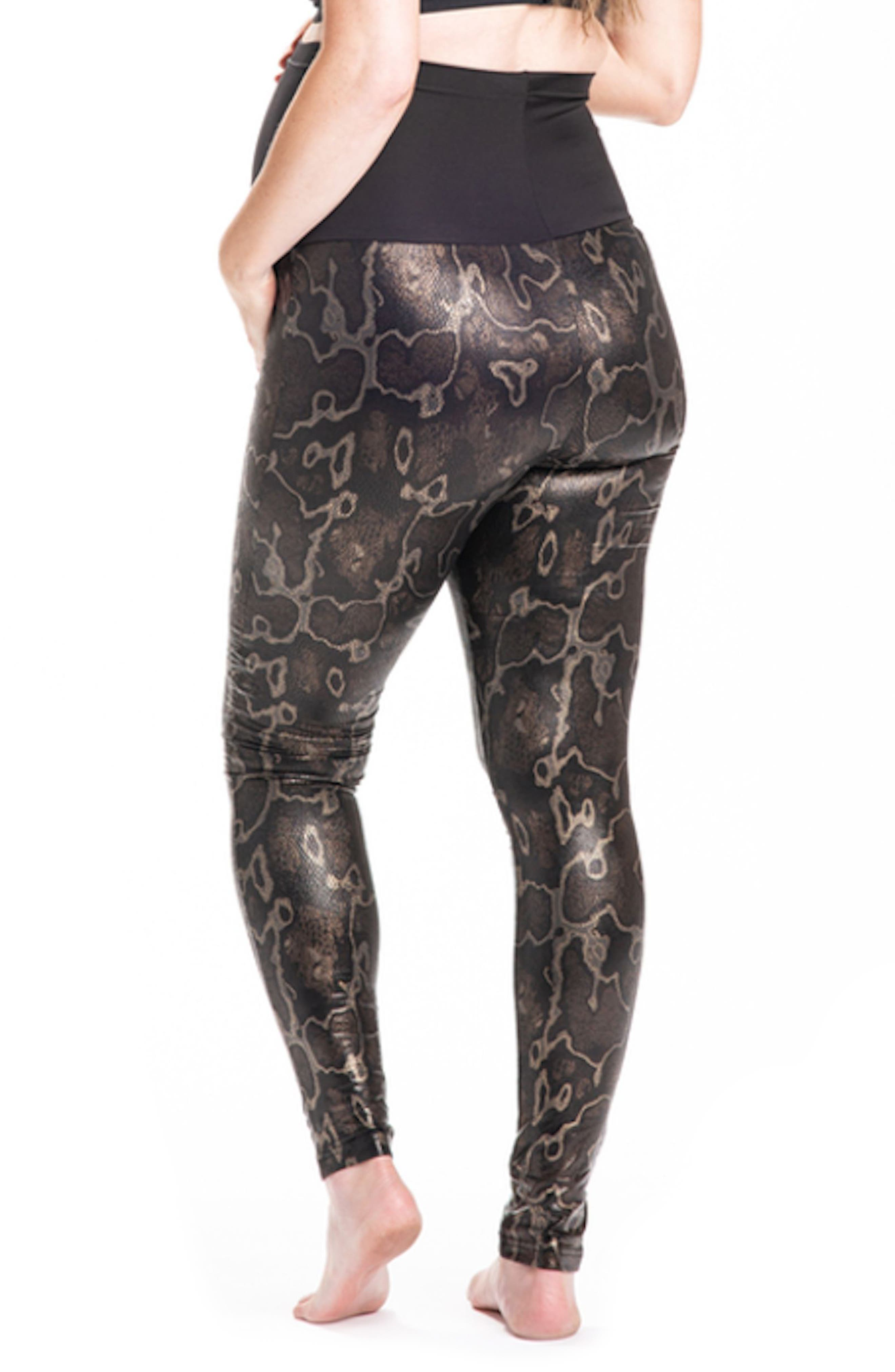 Boa Print Maternity Leggings,                             Alternate thumbnail 2, color,                             Dark Brown