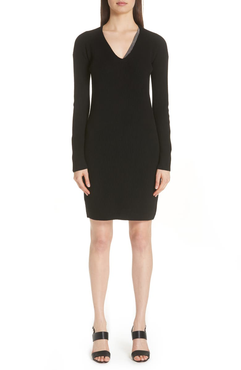 Bead Detail Wool Silk  Cashmere Sweater Dress