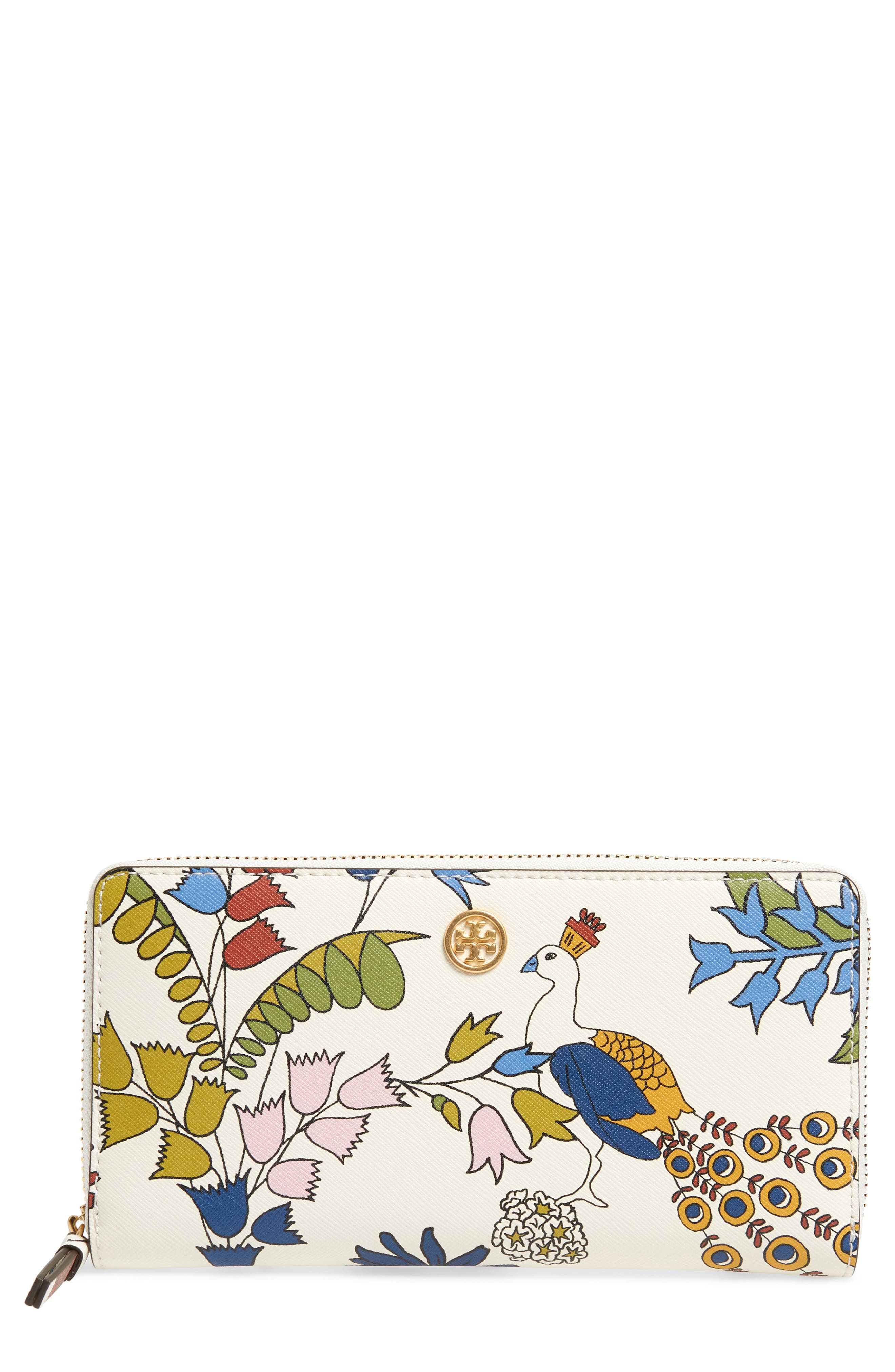 Robinson Floral Leather Continental Wallet,                             Main thumbnail 1, color,                             Ivory Meadow Sweet