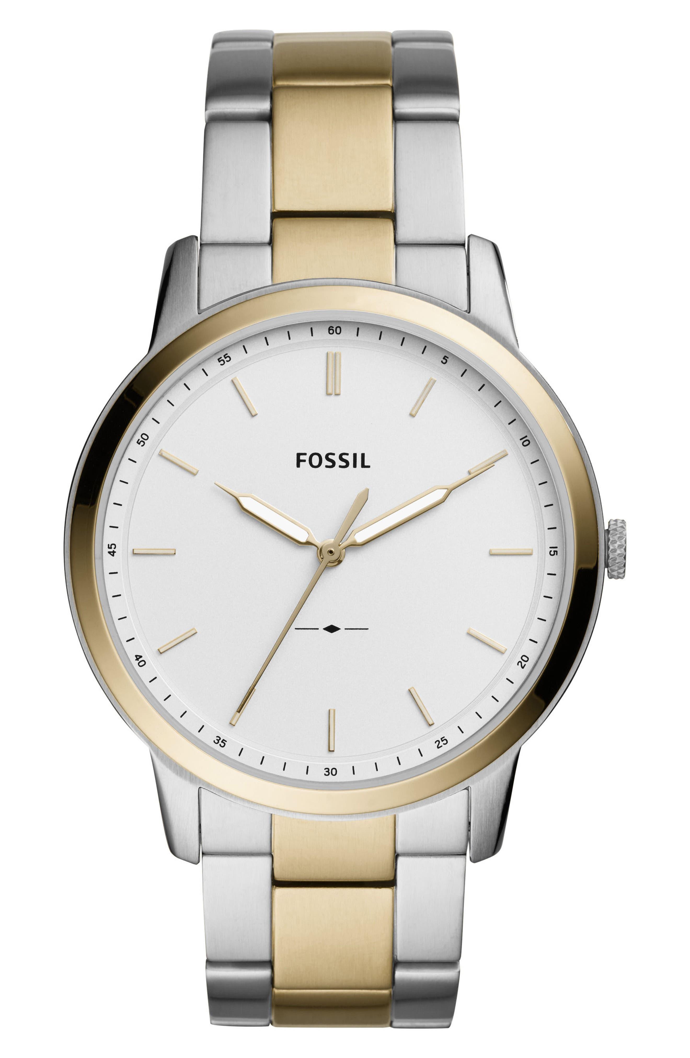Minimalist Bracelet Watch, 44mm,                             Main thumbnail 1, color,                             Silver/ White/ Silver