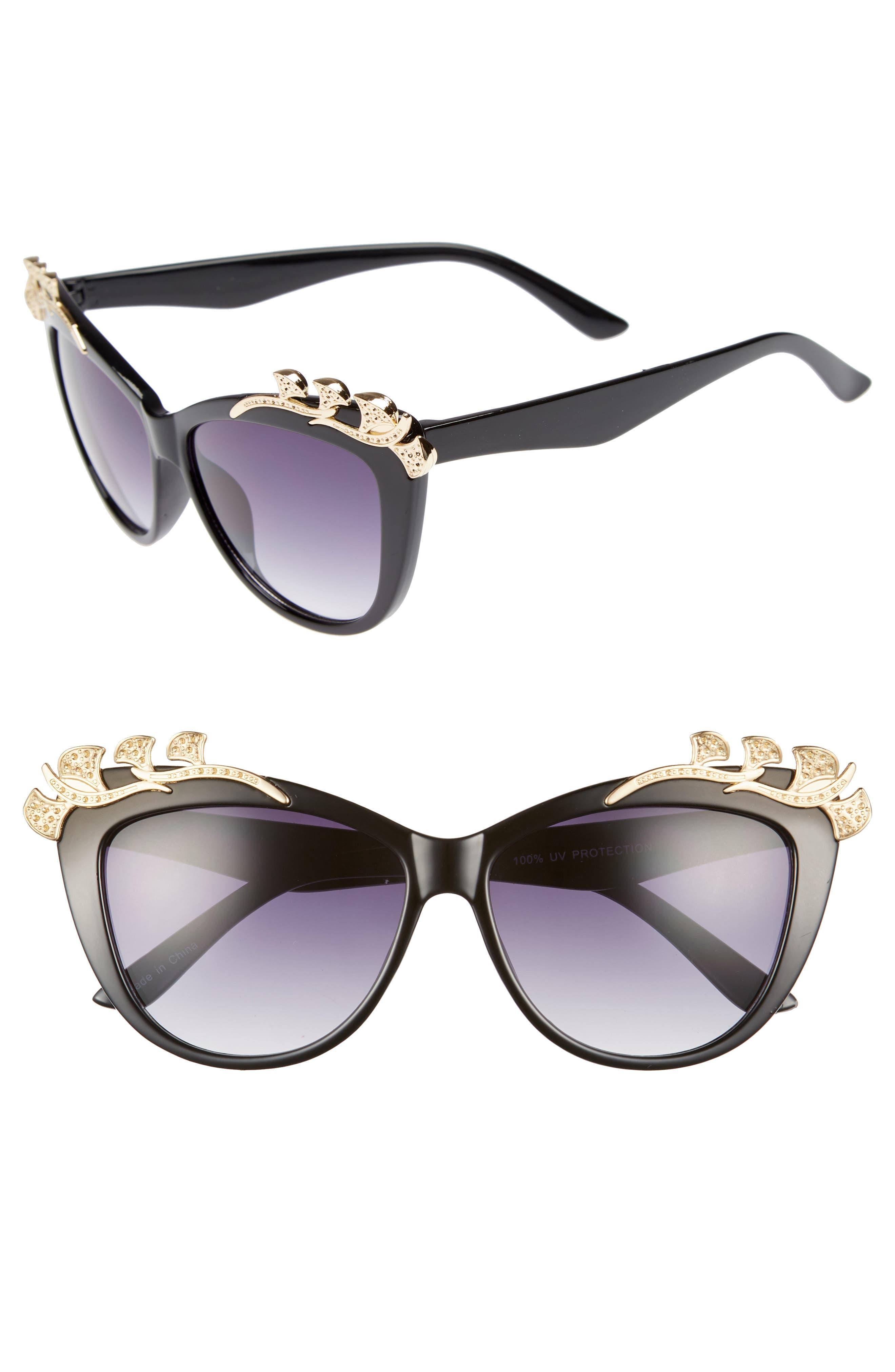 57mm Embellished Sunglasses,                             Main thumbnail 1, color,                             Black/ Gold