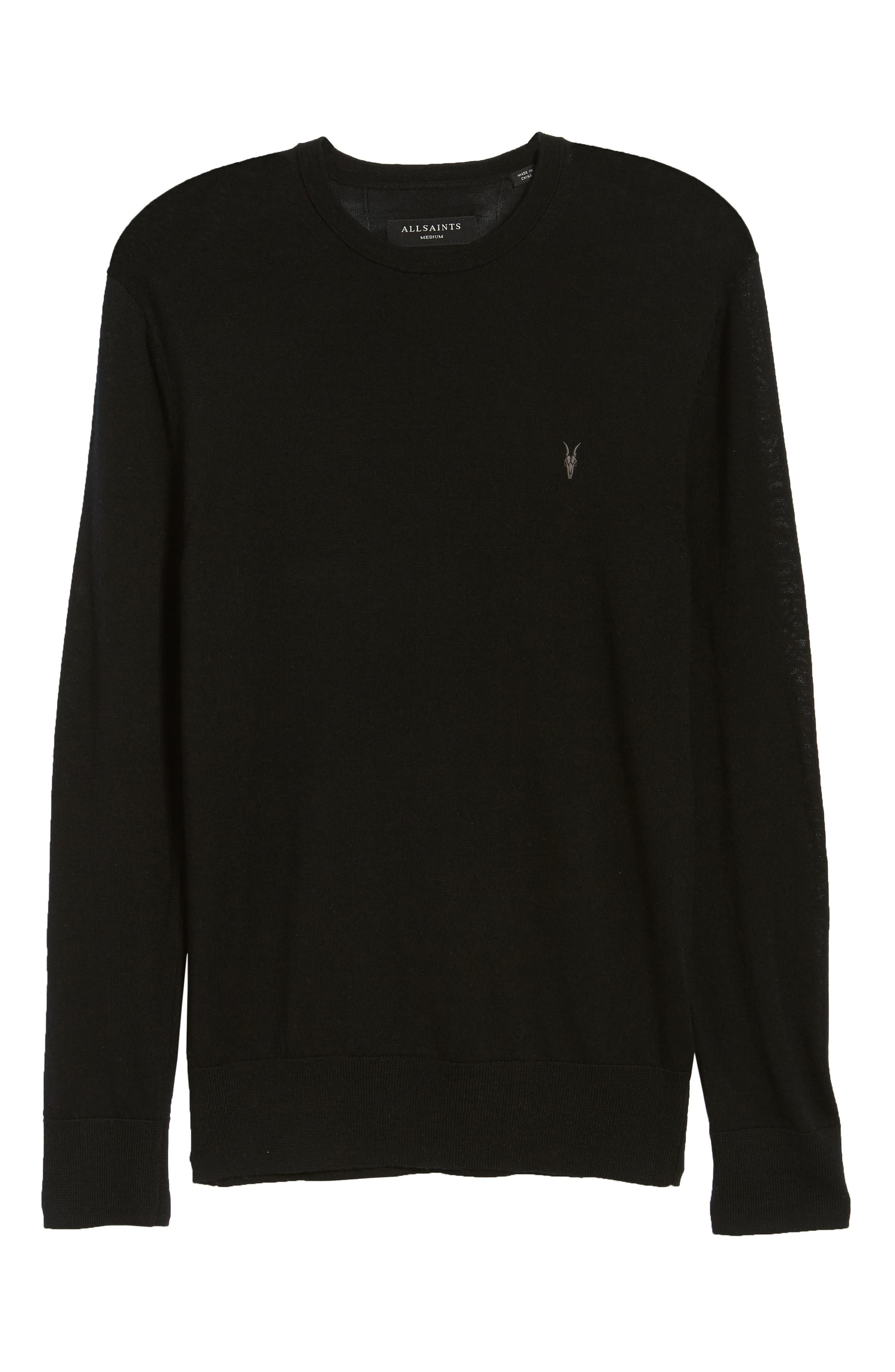 Mode Slim Fit Merino Wool Sweater,                             Alternate thumbnail 6, color,                             Black