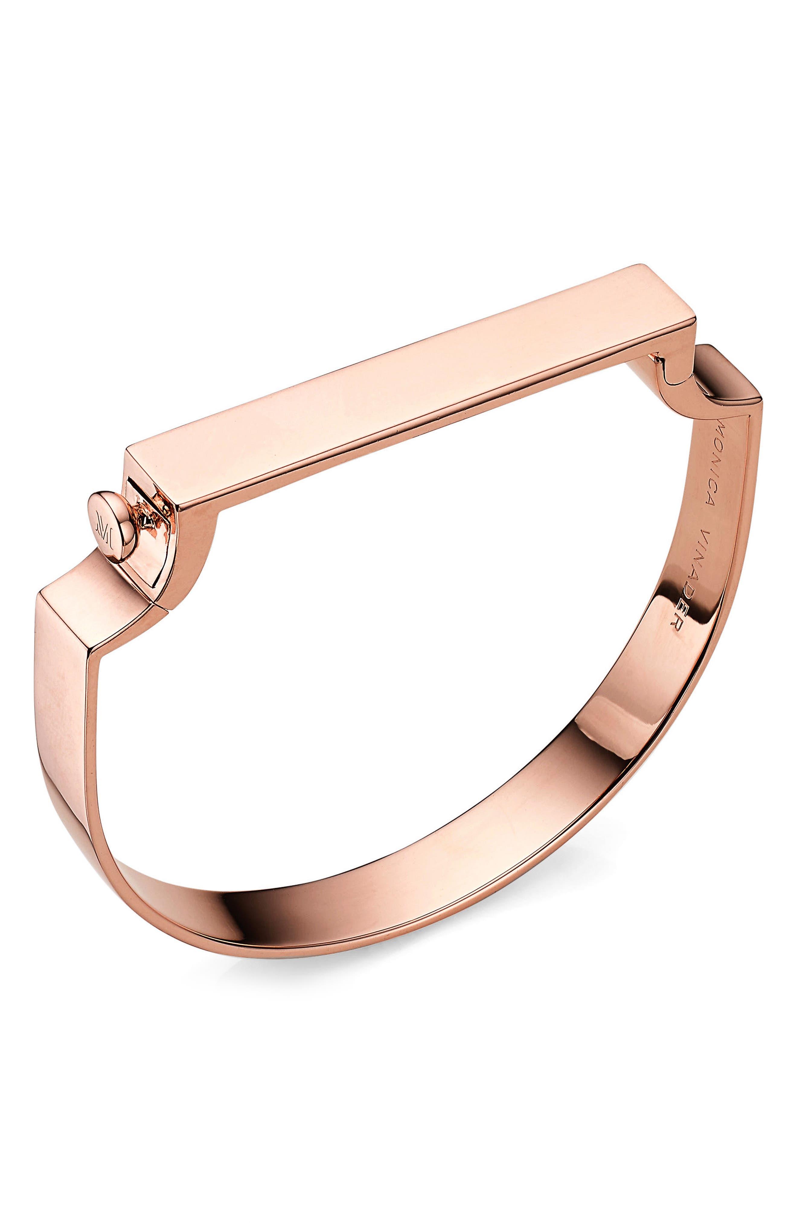 Engravable Large Signature Bracelet,                             Main thumbnail 1, color,                             Rose Gold