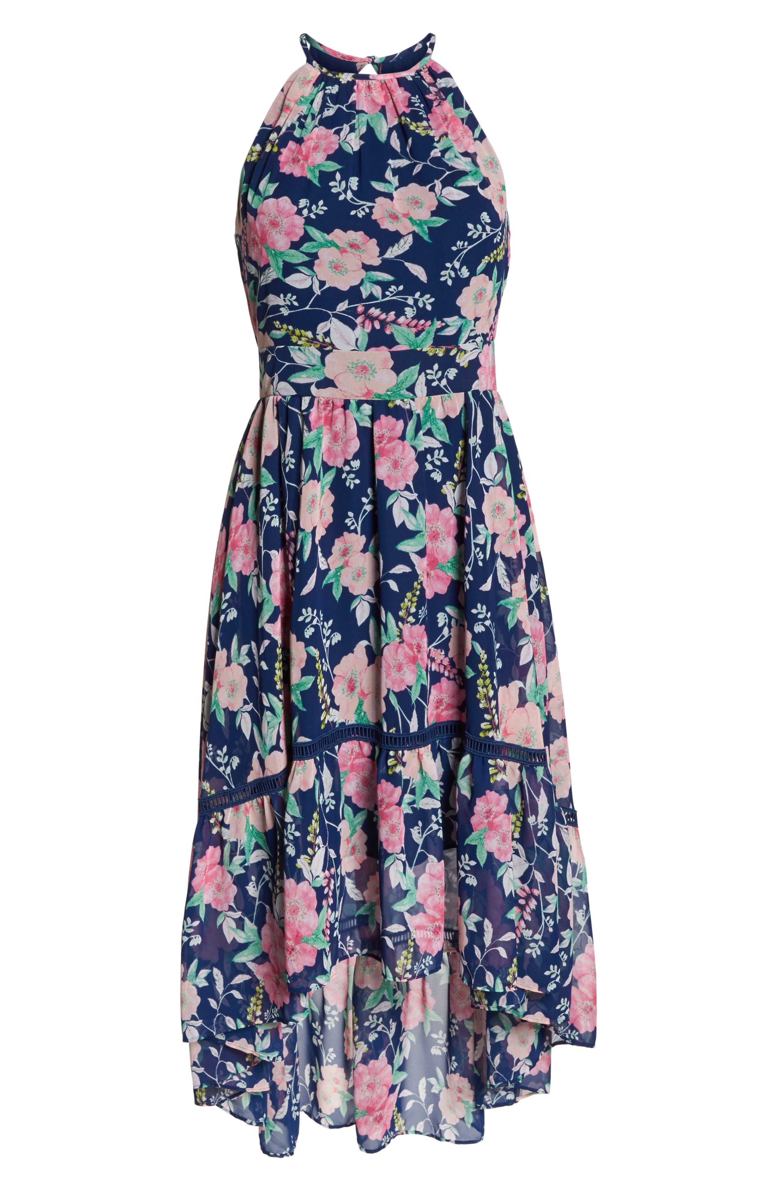 Halter Neck Fit & Flare Dress,                             Alternate thumbnail 7, color,                             Navy/ Pink