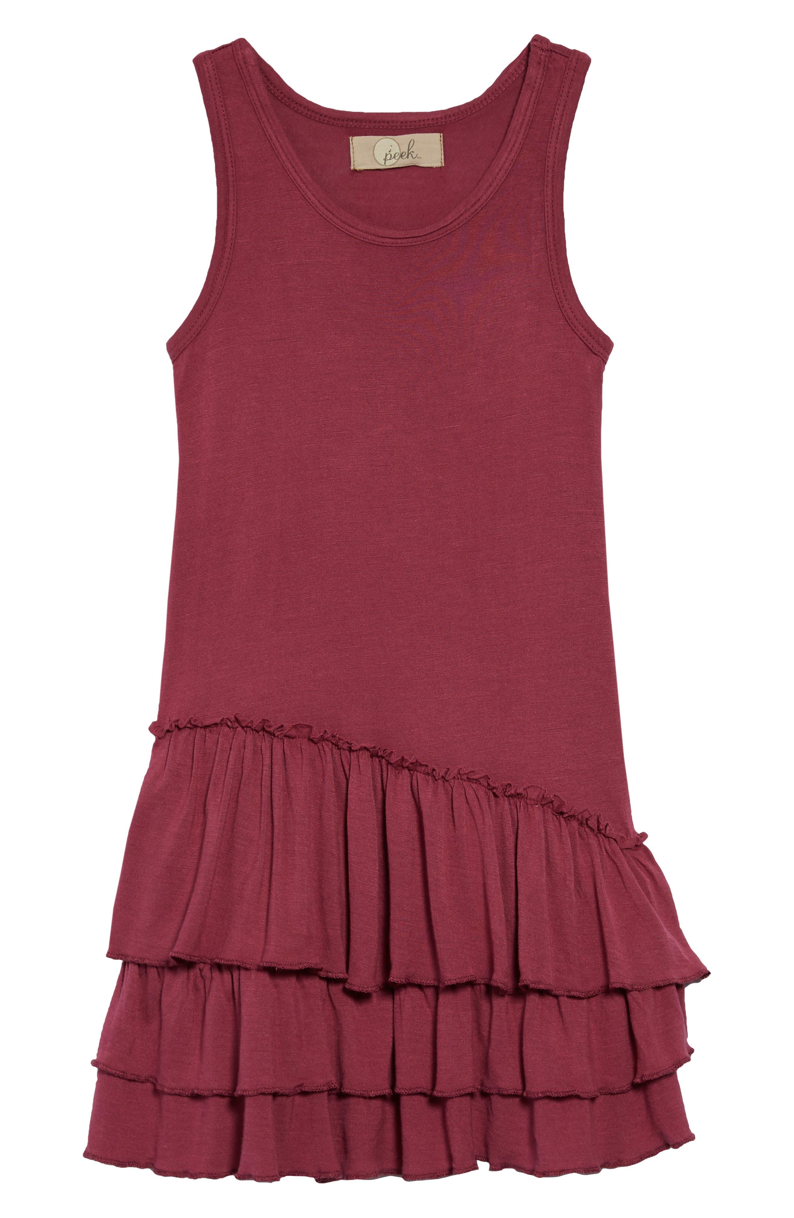 Tiered Tank Dress,                             Main thumbnail 1, color,                             Maroon